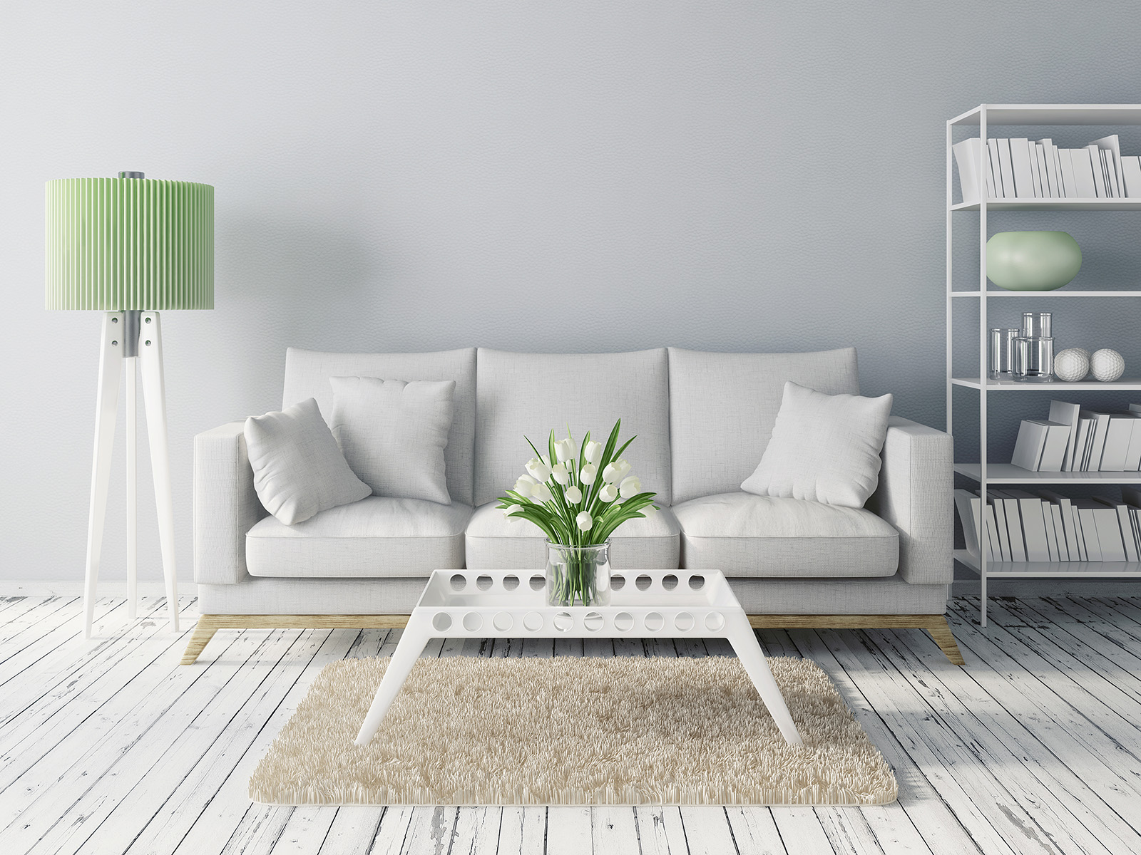 Sofa pillows and a vase on the coffee table 51214