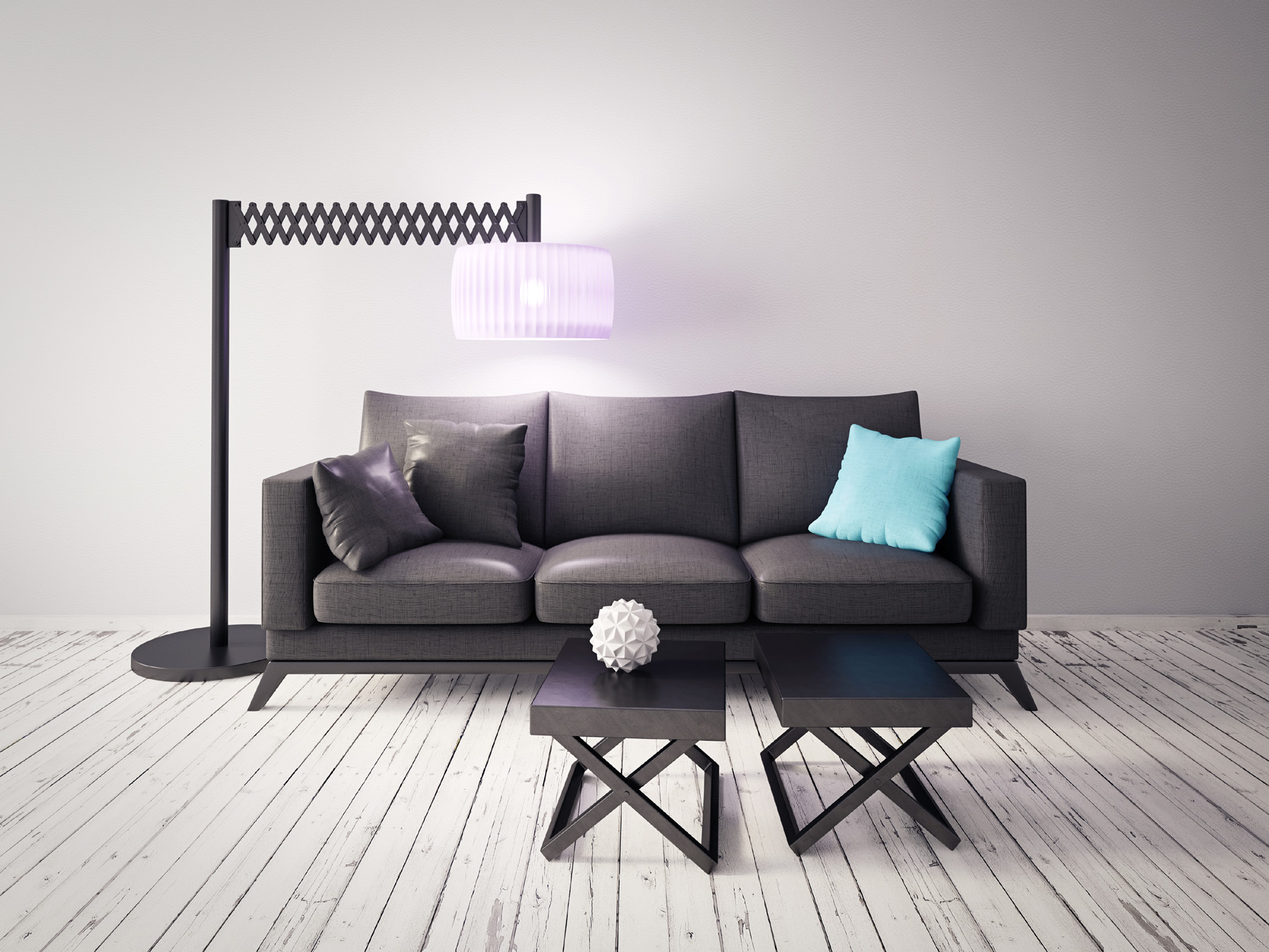 Retractable floor lamp and sofa 51257