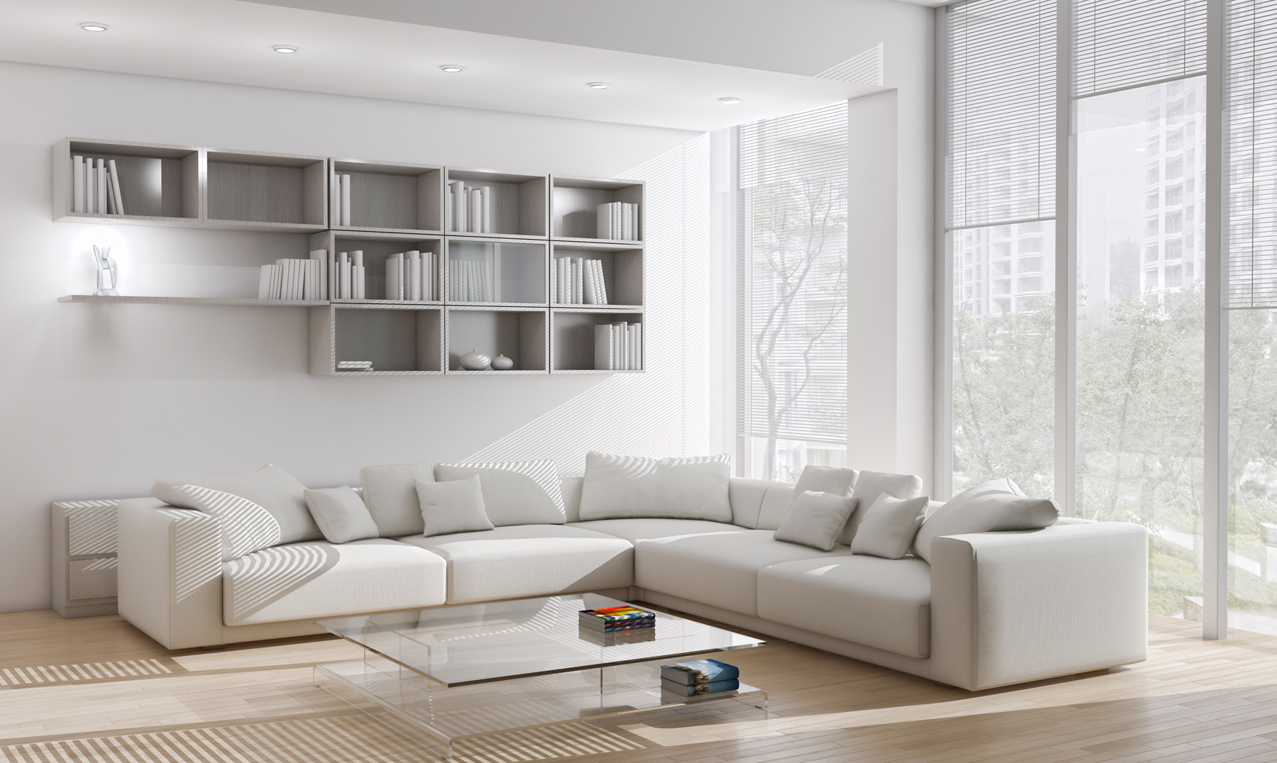 Room sofa and wall shelves 51262