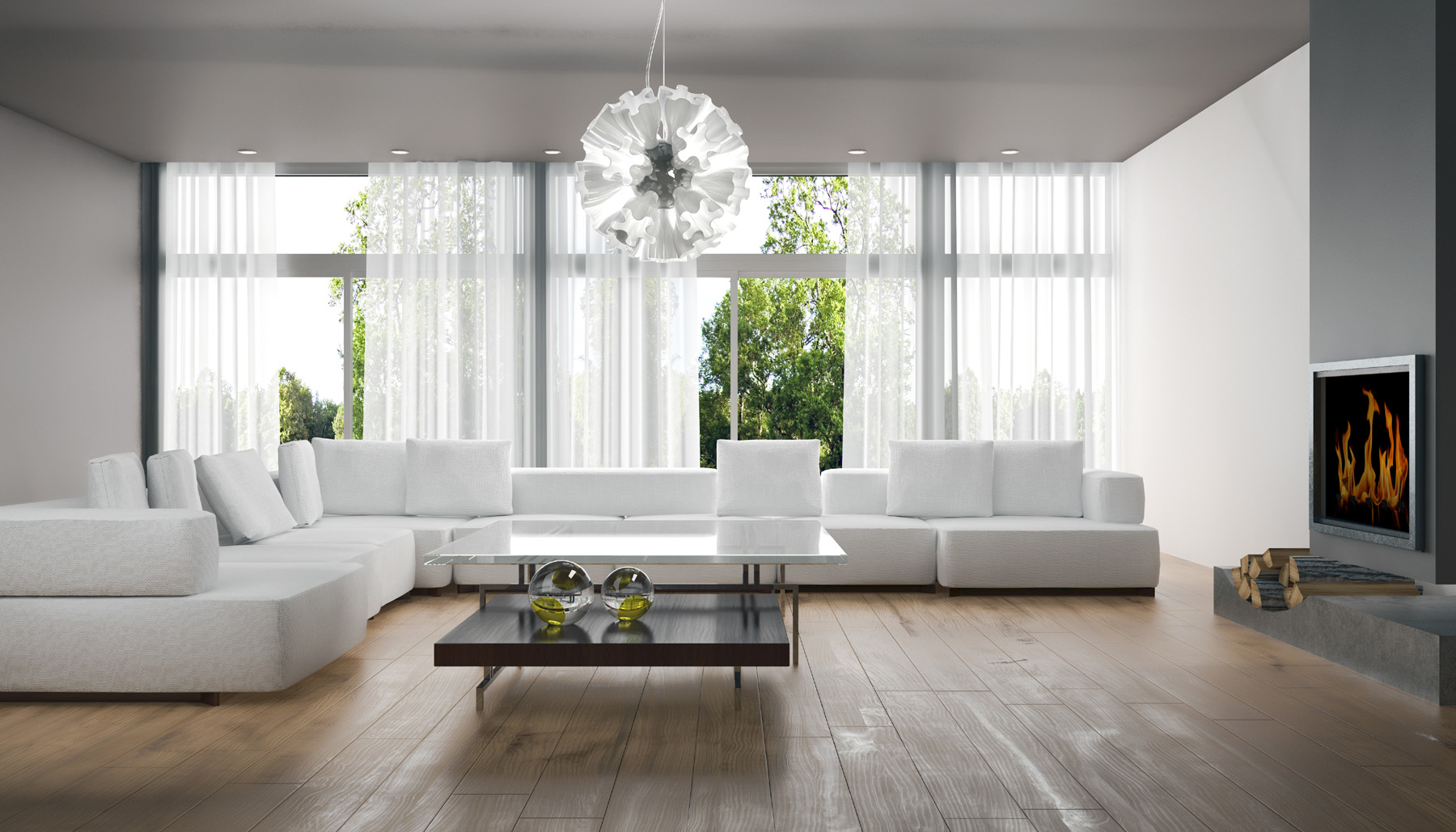 Living room coffee table with a white sofa 51265