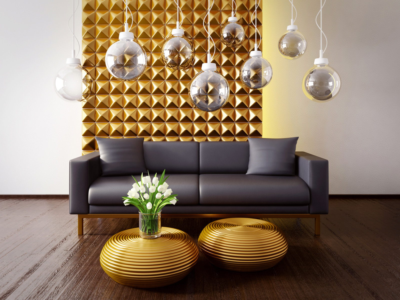 Sofa chandelier and floral decoration 51298