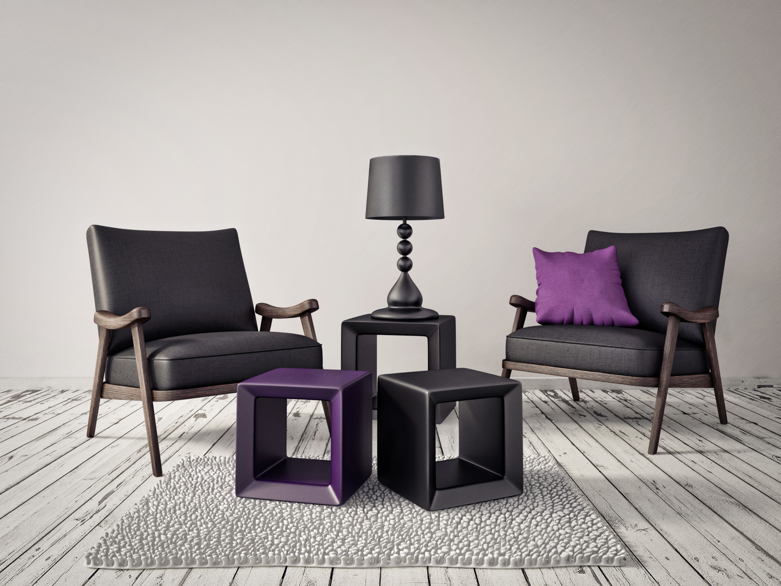 Black colored sofa and table lamps 51309