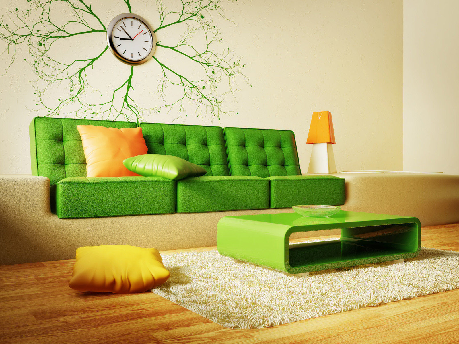 Sofa coffee table and wall clock wallpaper 51326