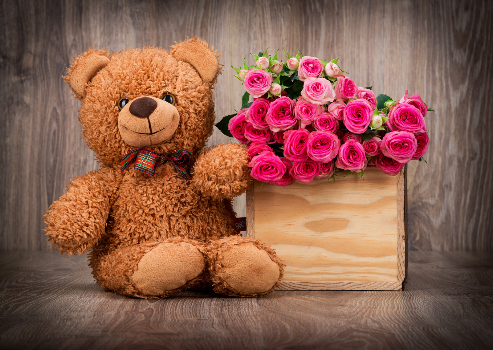 Teddy bear and flowers in baskets 51433