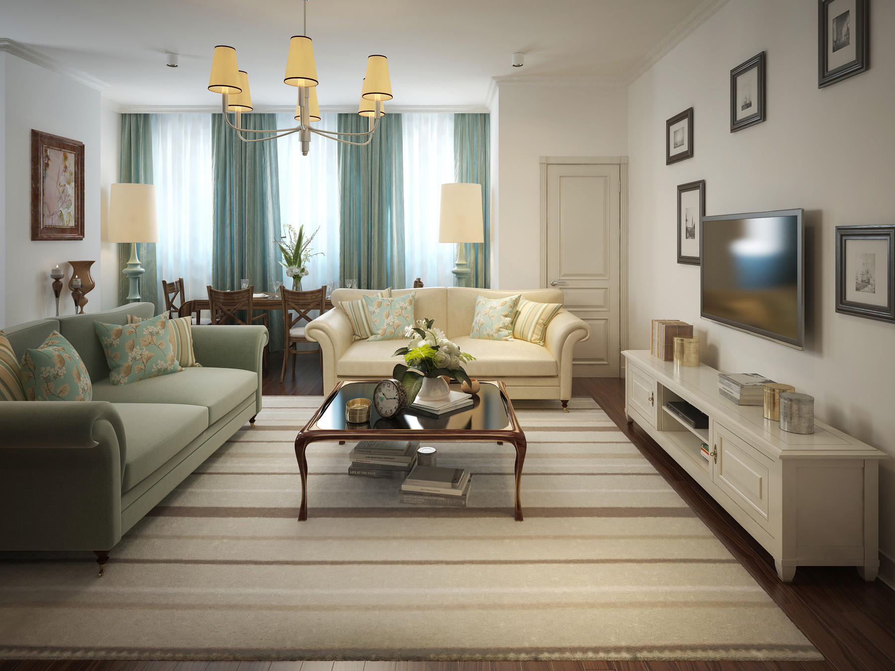 Living room with sofa, coffee table and TV cabinet chandelier 51495