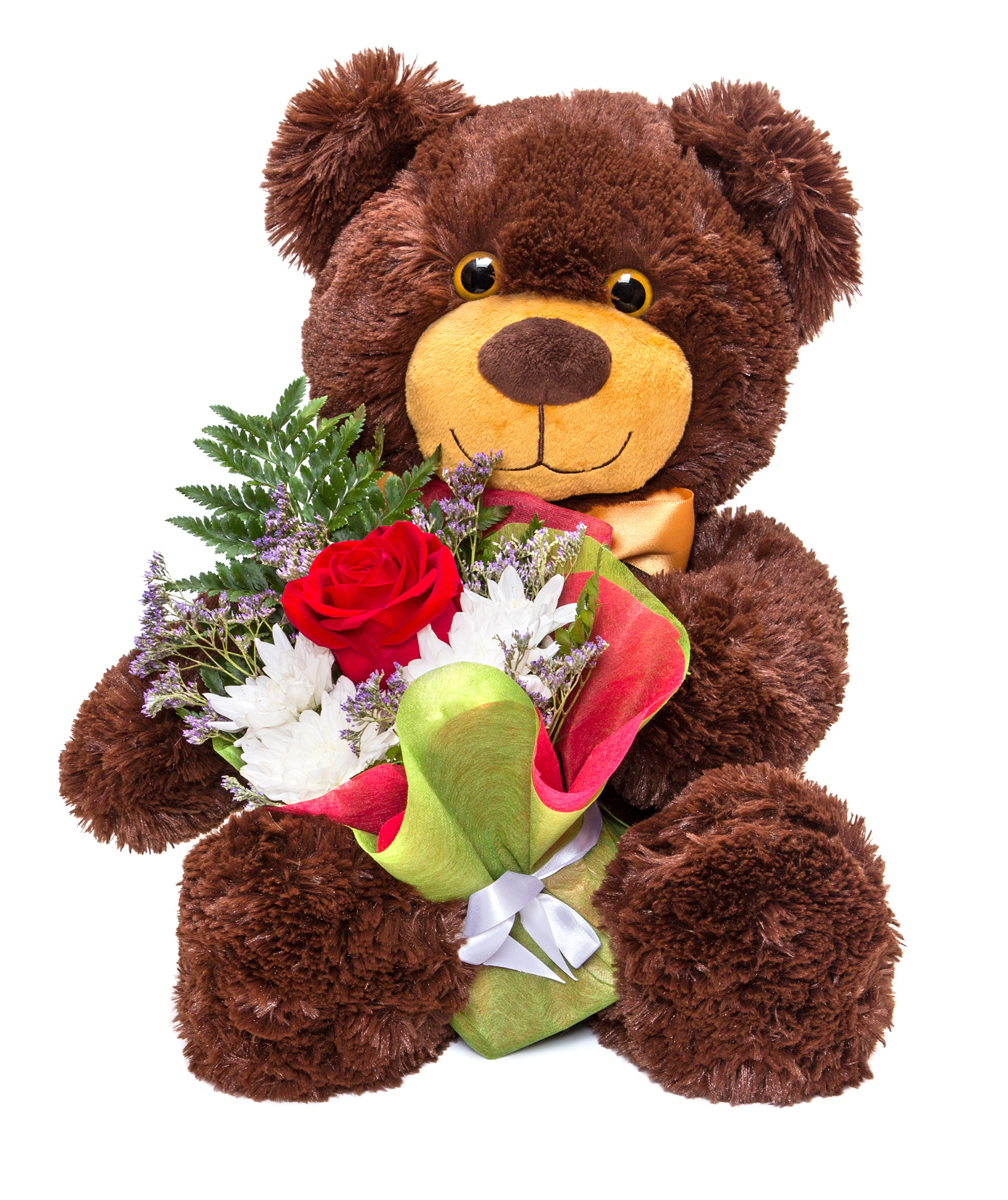 Cute teddy bear holding a bouquet 51526