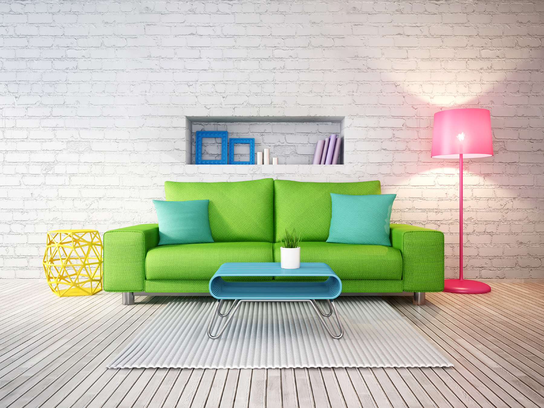 Green sofa with pink floor lamp 51537
