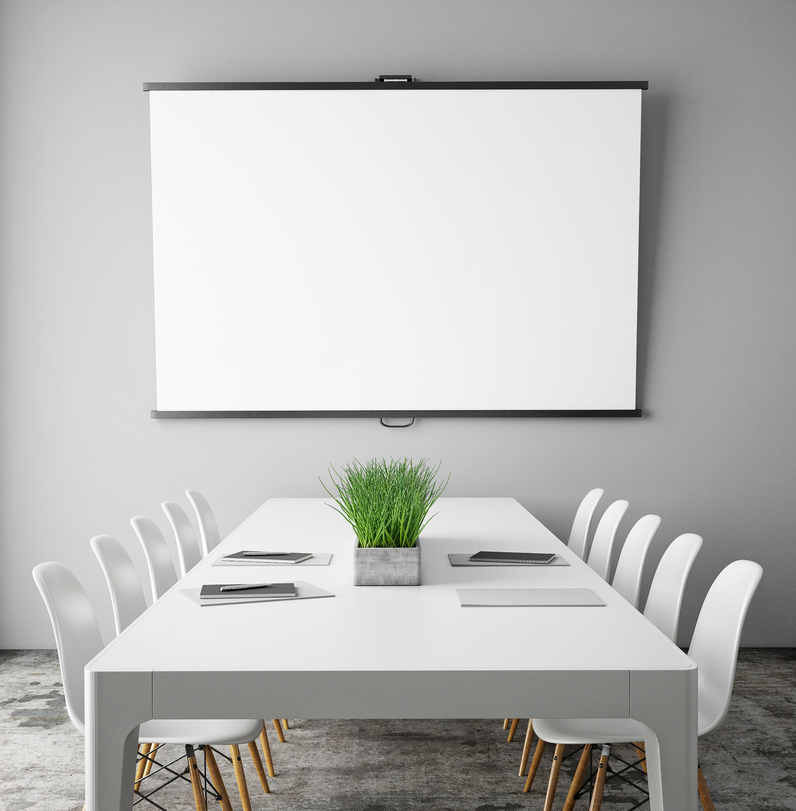 Projection screen layout with tables and chairs and other 51618