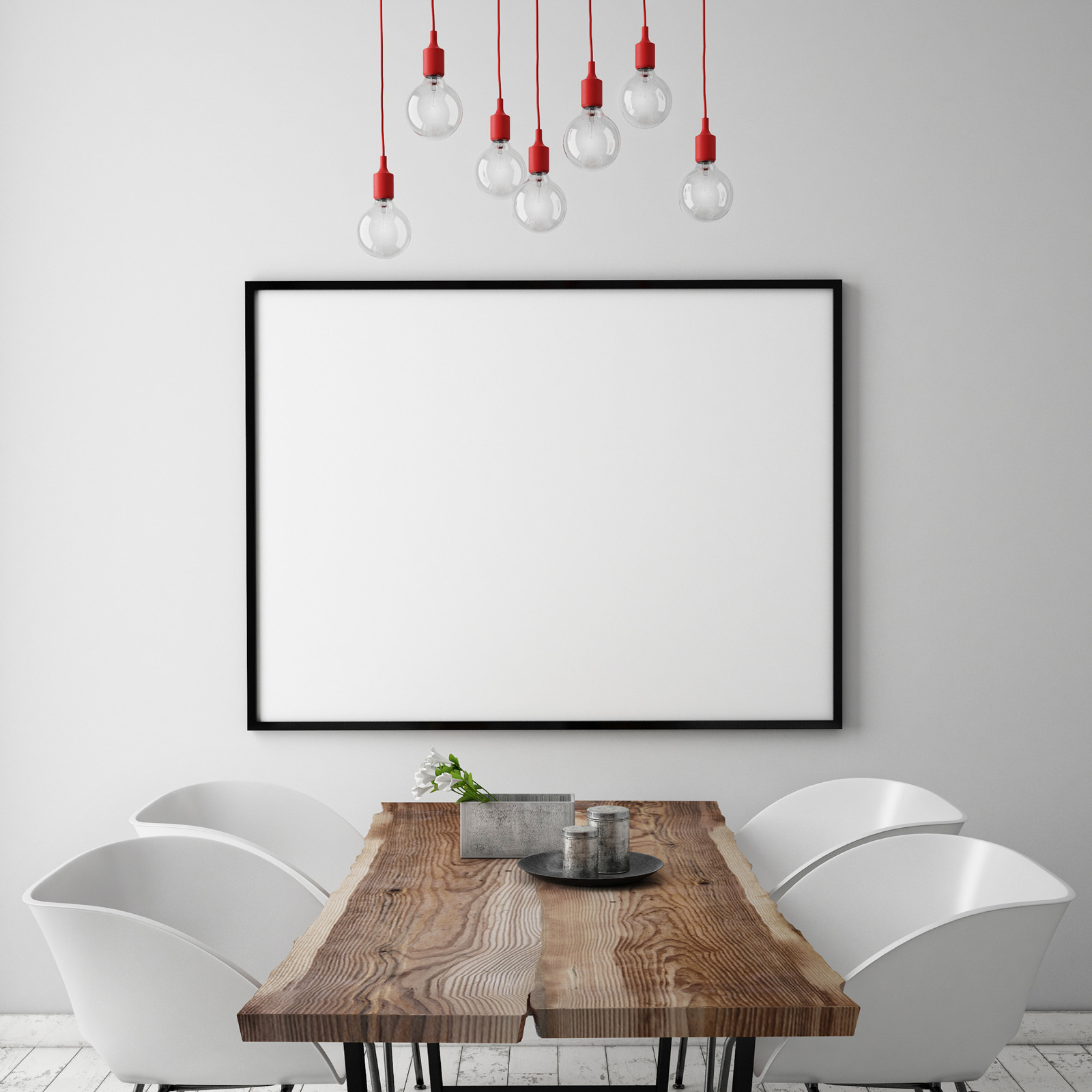 Lamp tables and chairs with a blank picture frame 51630