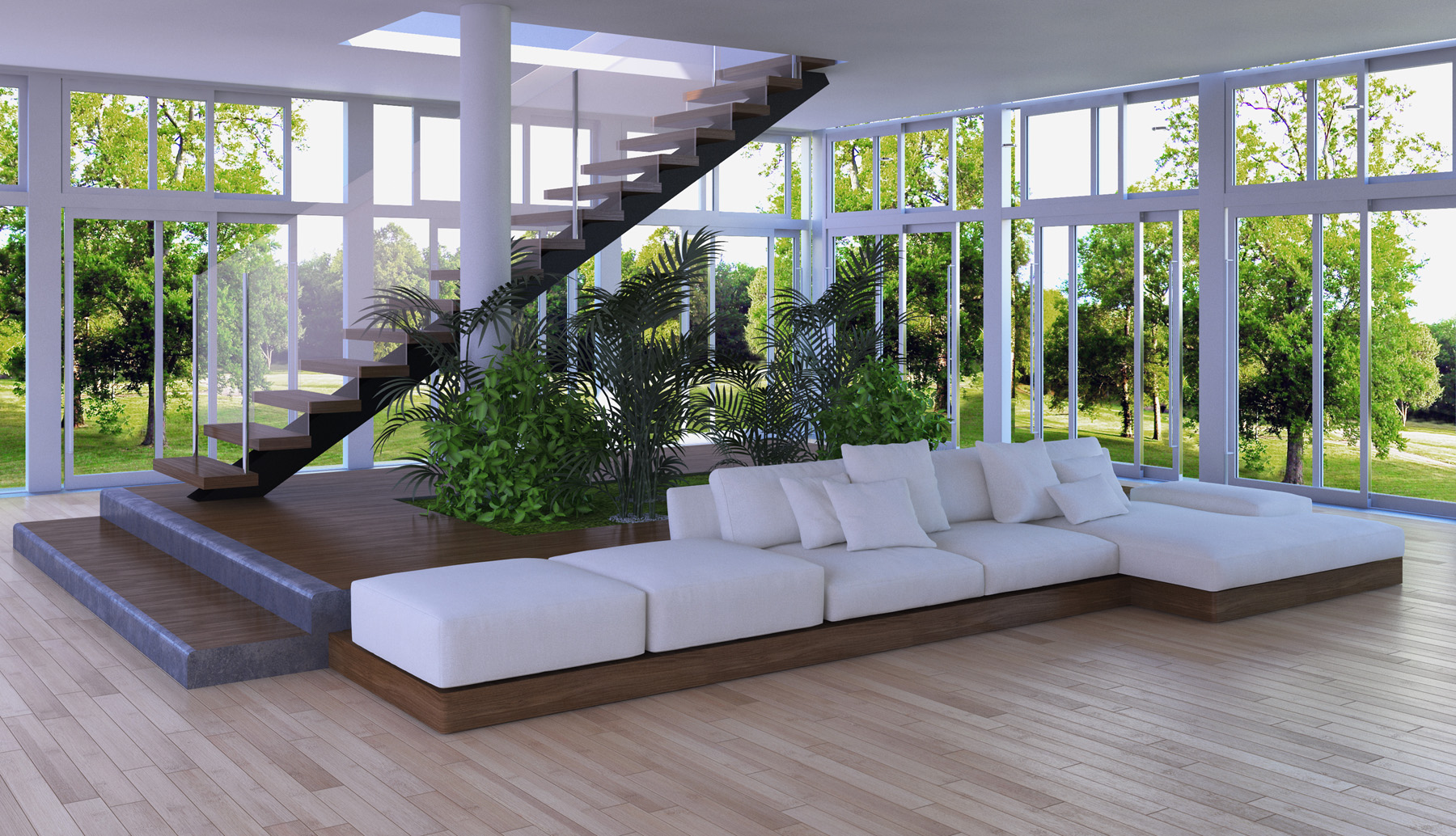 White sofa and stairs 51717