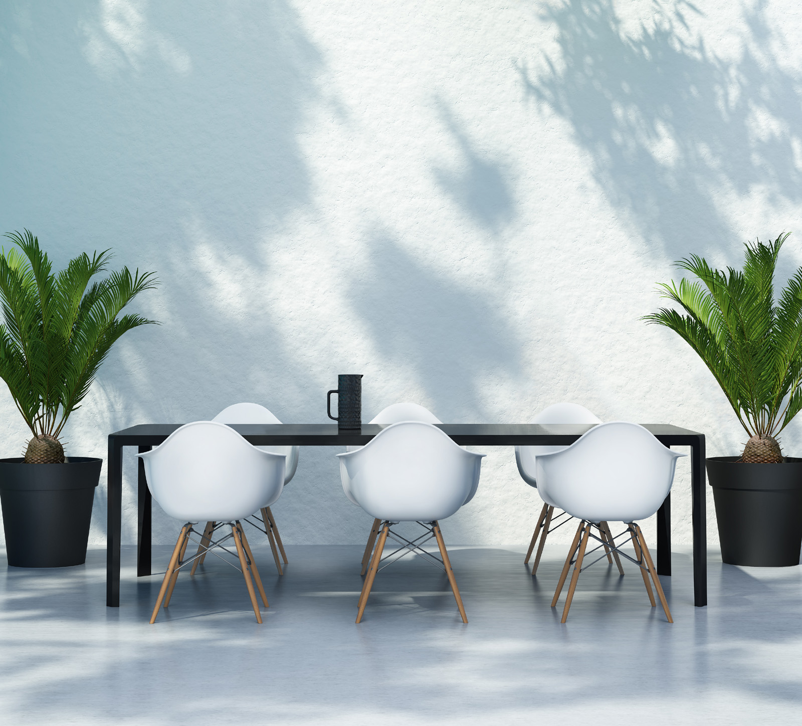 Placing tables and chairs and green plants 51732