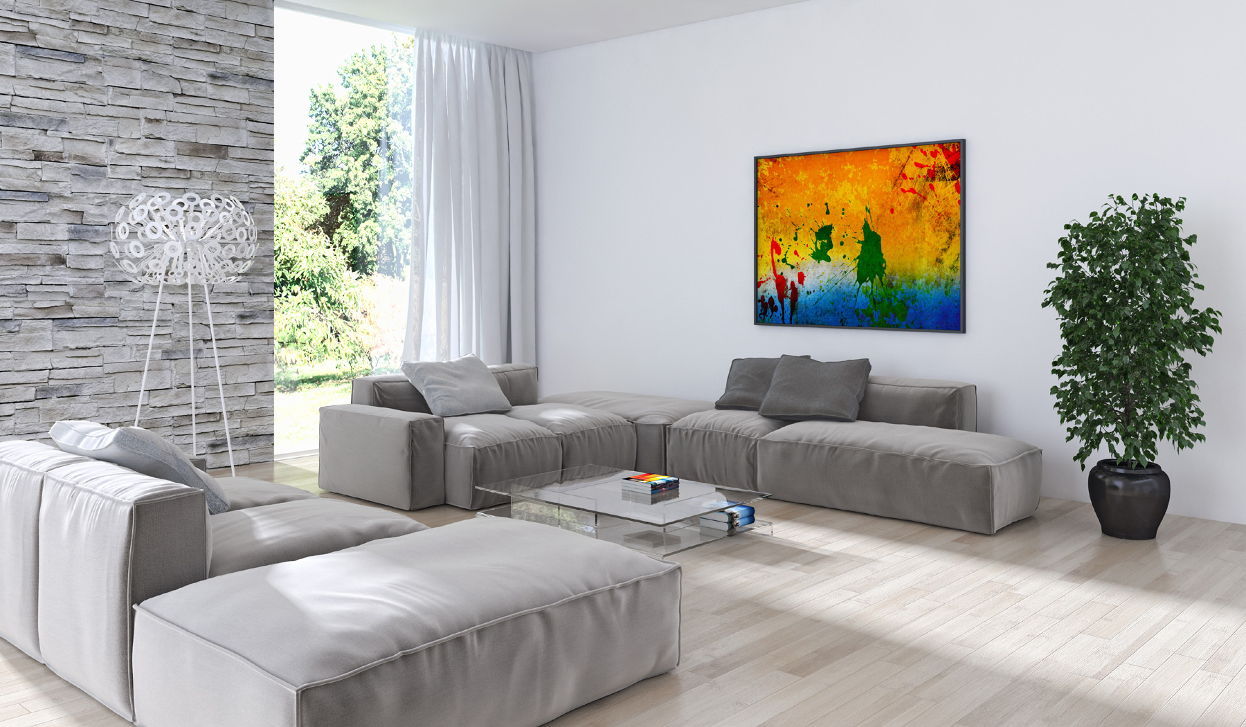 Living room splash effect decorative painting and furniture 51756