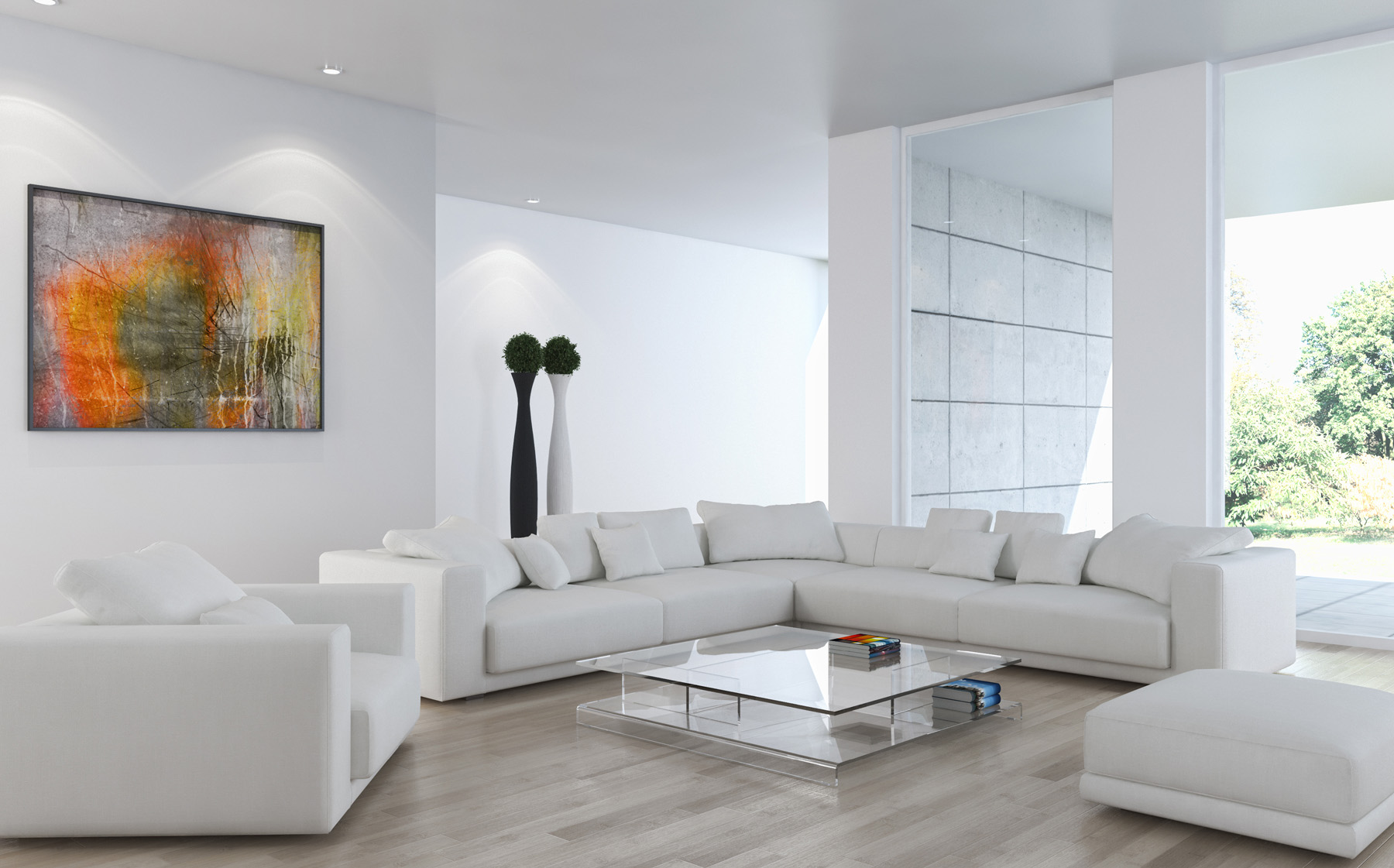 White sofa and the living room coffee table 51759