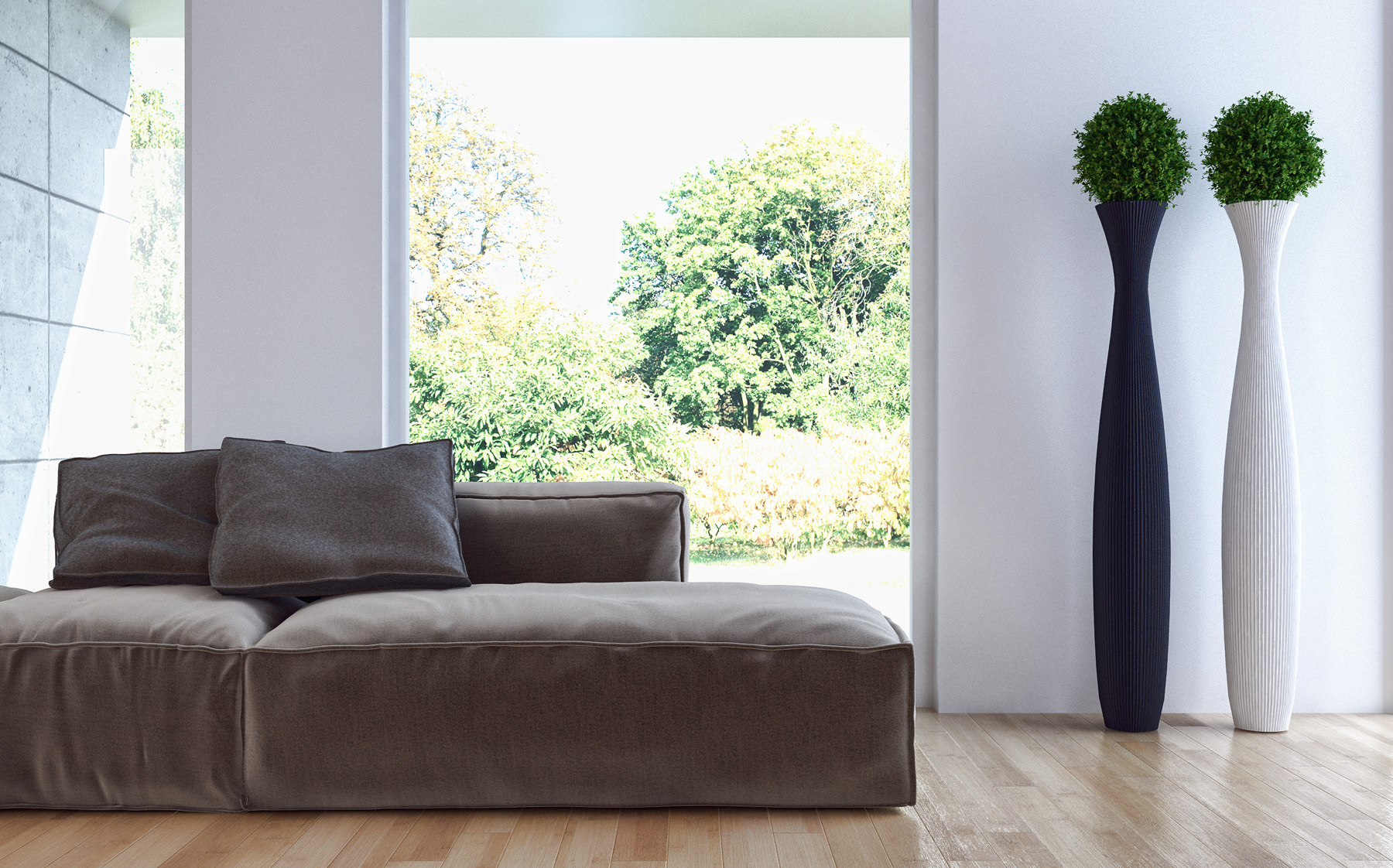 Green plants in the room with sofa 51761