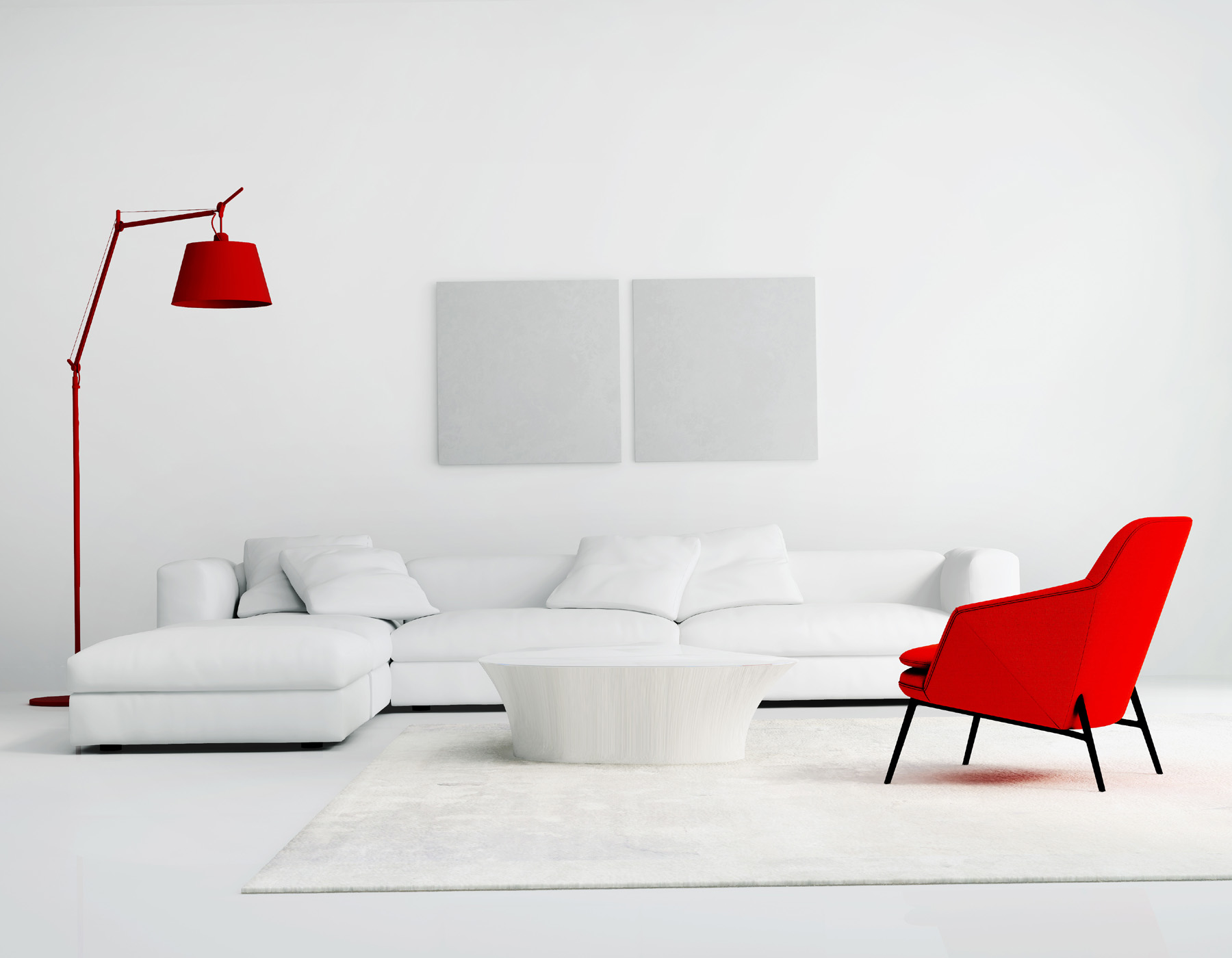 Red and white sofa floor lamp 51776