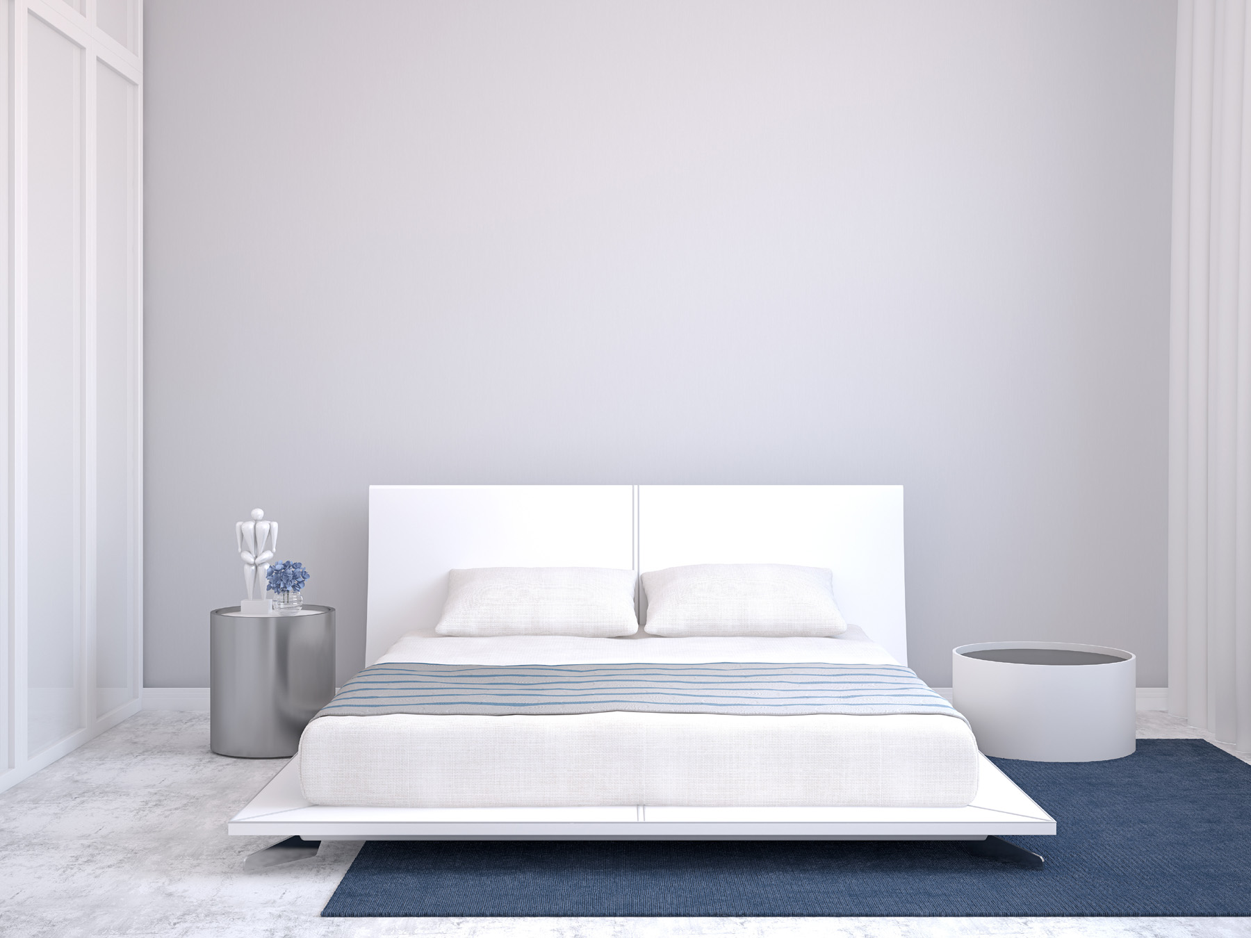 Bedroom white big bed, rendering 51820