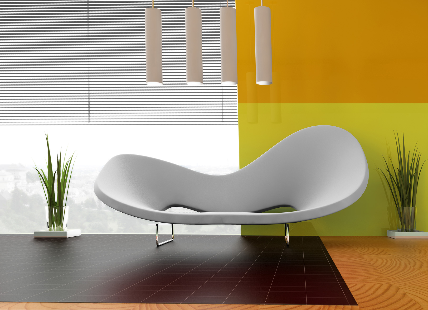 Indoor plants and innovative sofa 51921