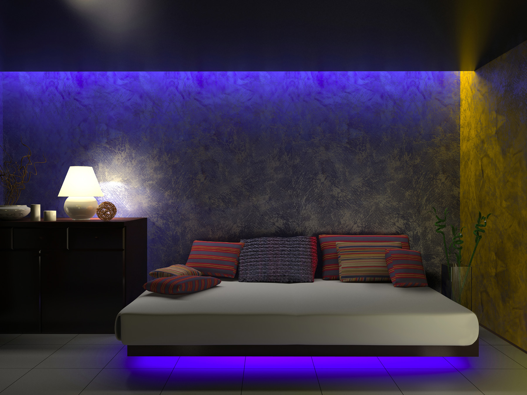 Blue light atmosphere bedroom interiors 51945