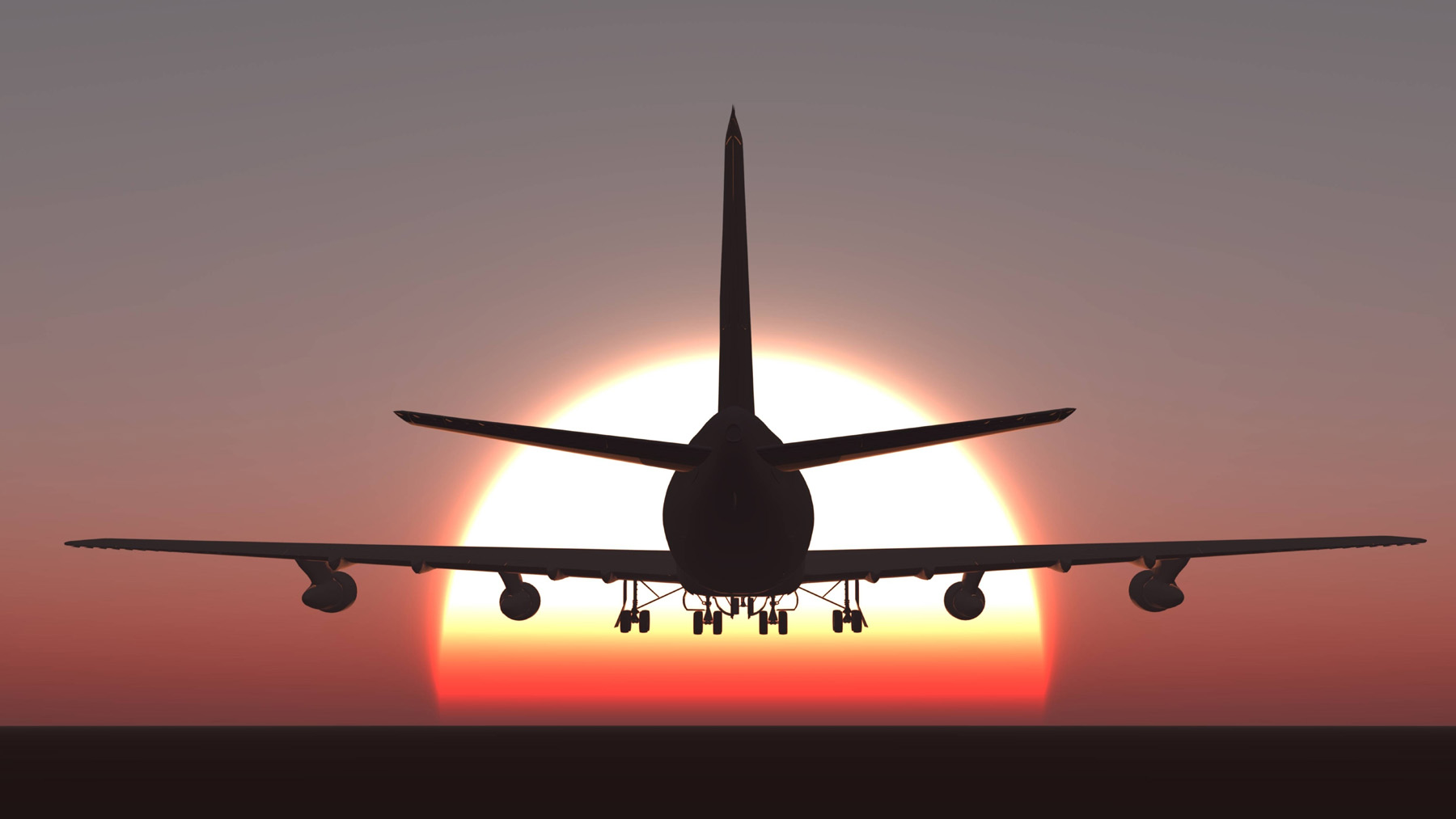 Evening sunset airplane silhouette 52003