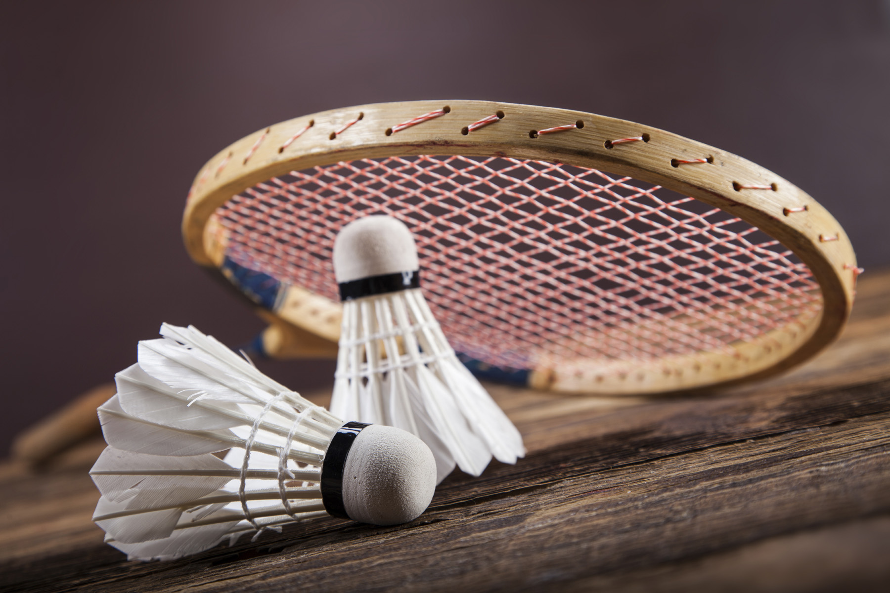 Badminton with wooden rackets 52036