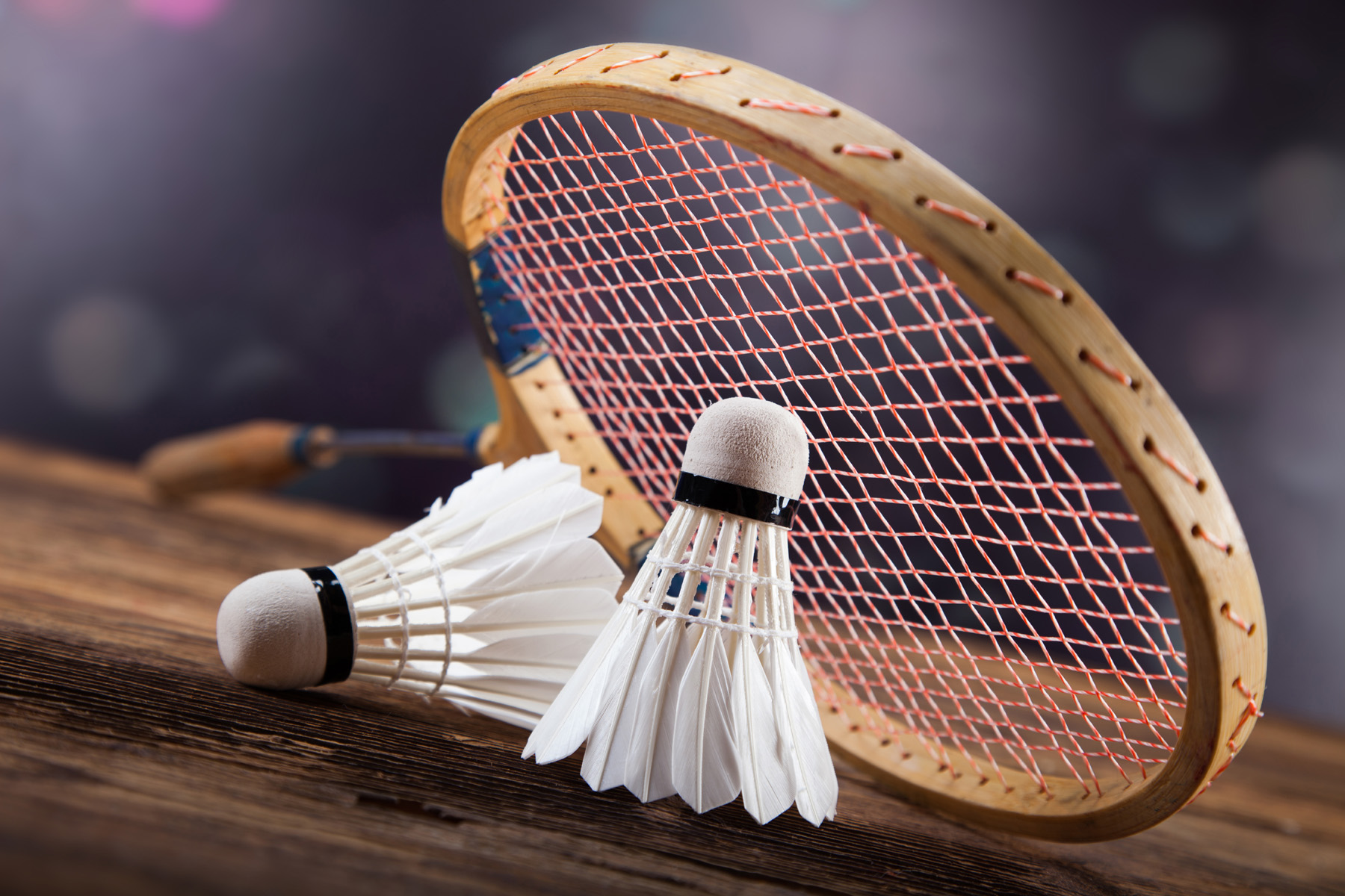 Badminton with wooden rackets 52047