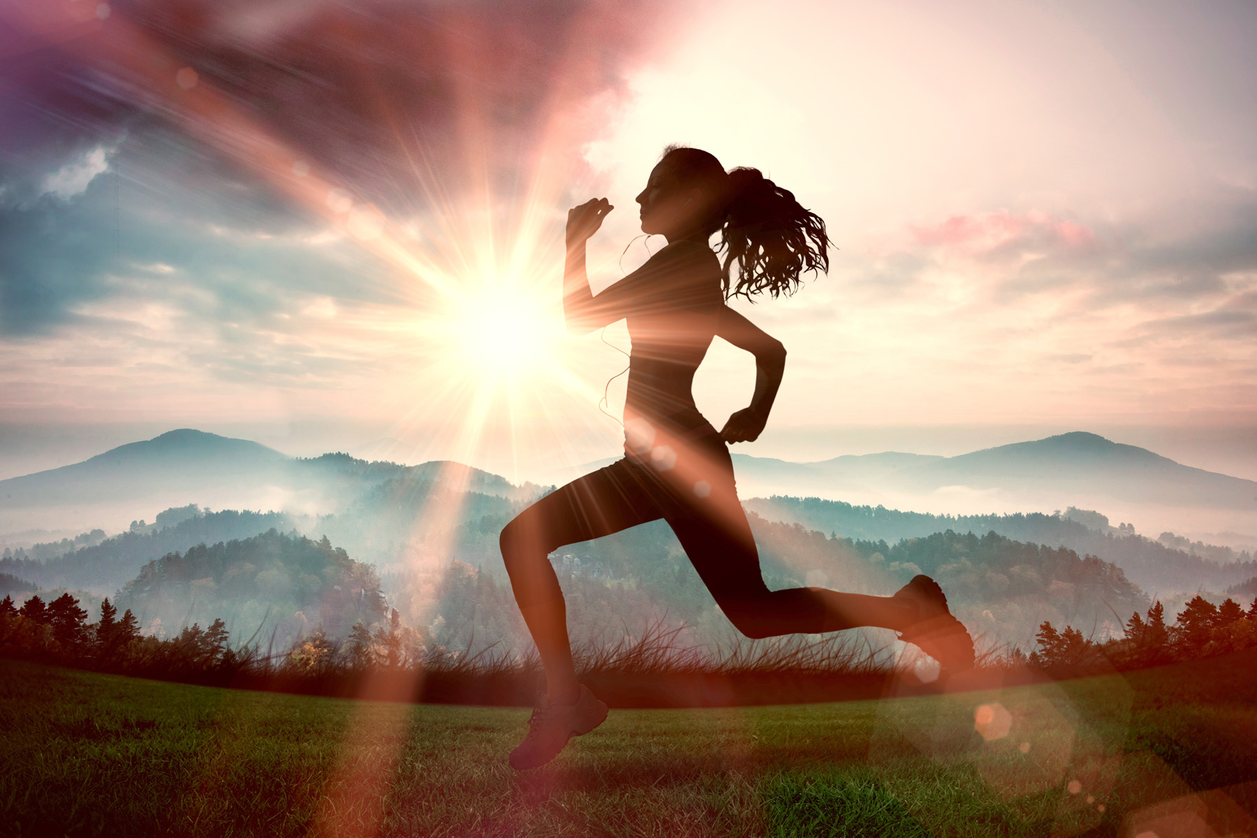 Running outdoors beautiful people silhouette 52058
