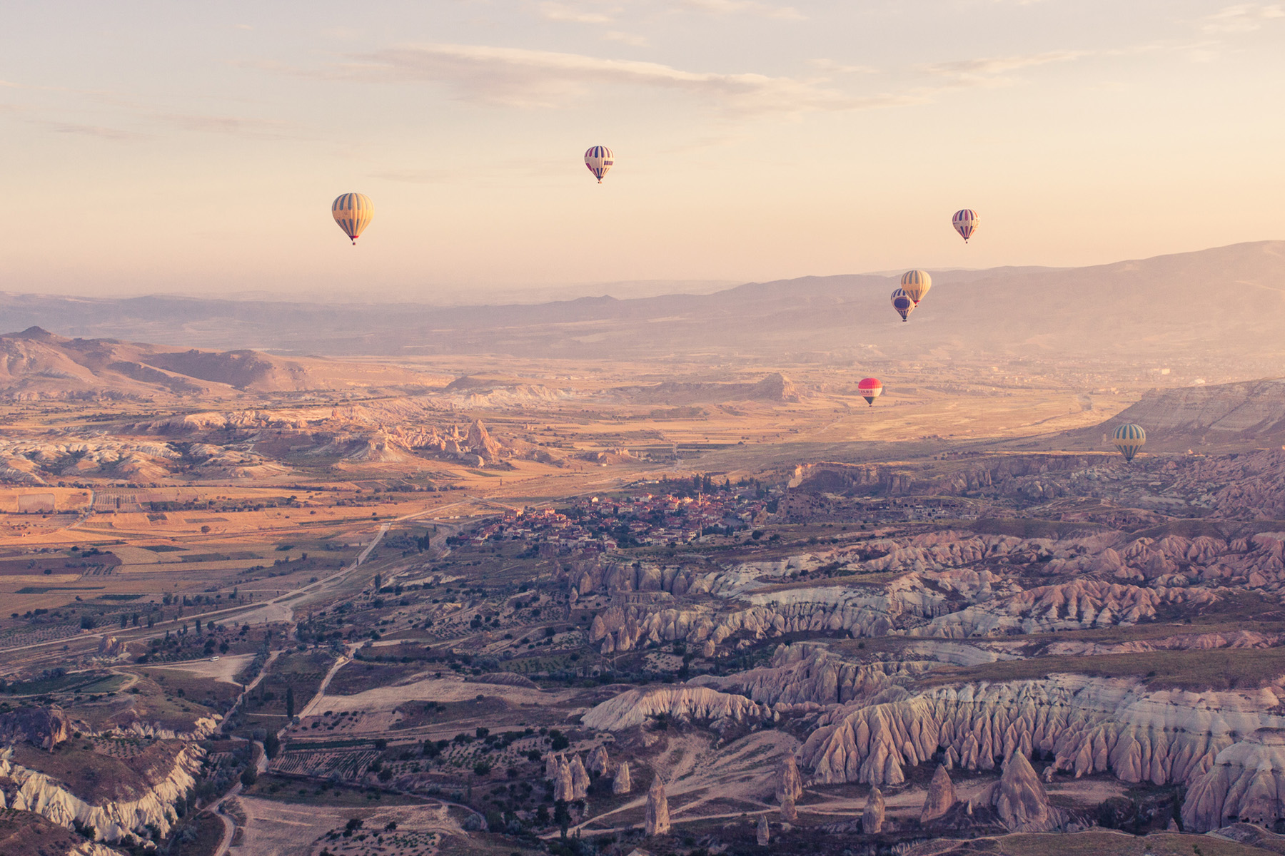 Hilly and hot-air balloon landscape 52196