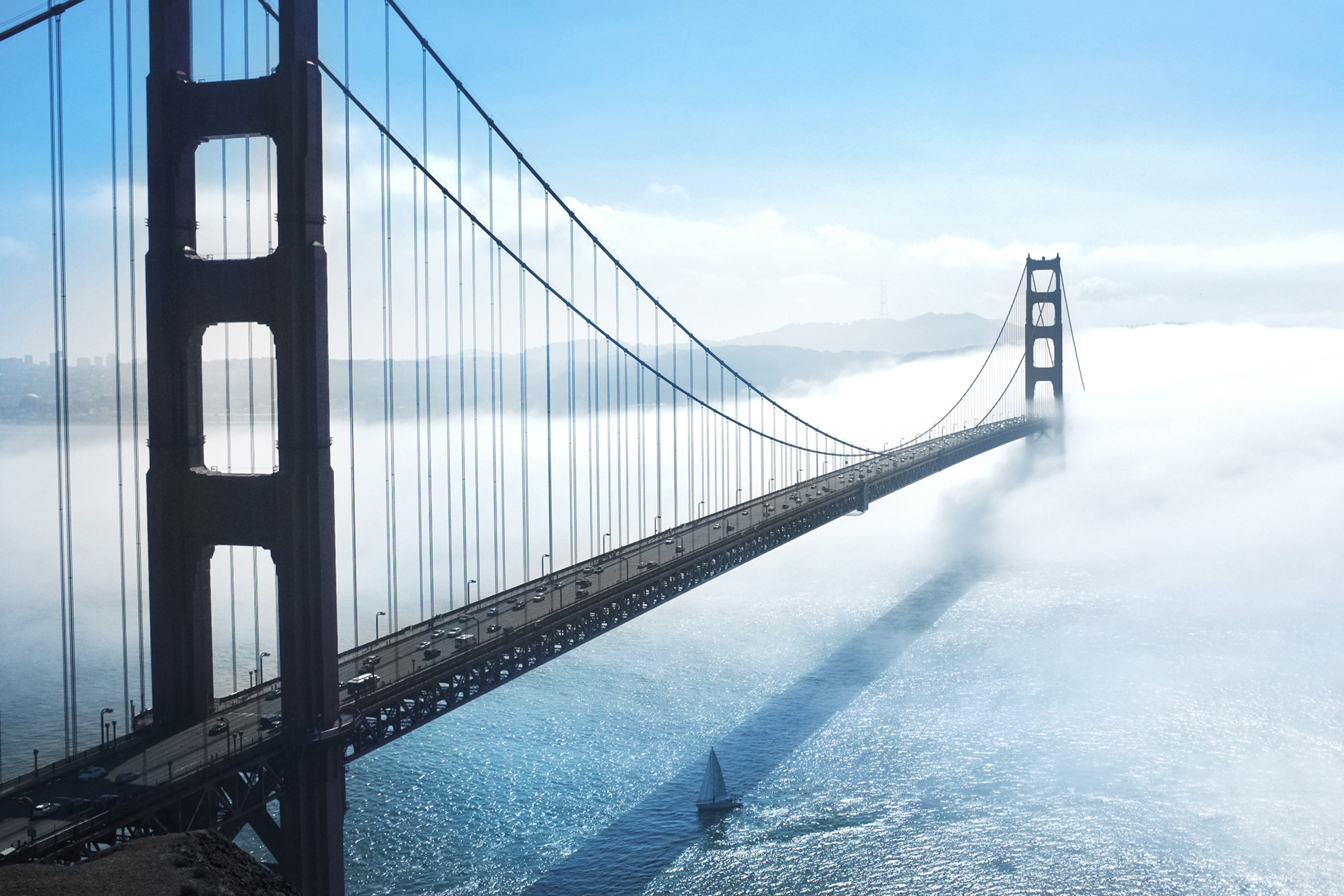 Suspension bridge with blue sky and scenery 52212