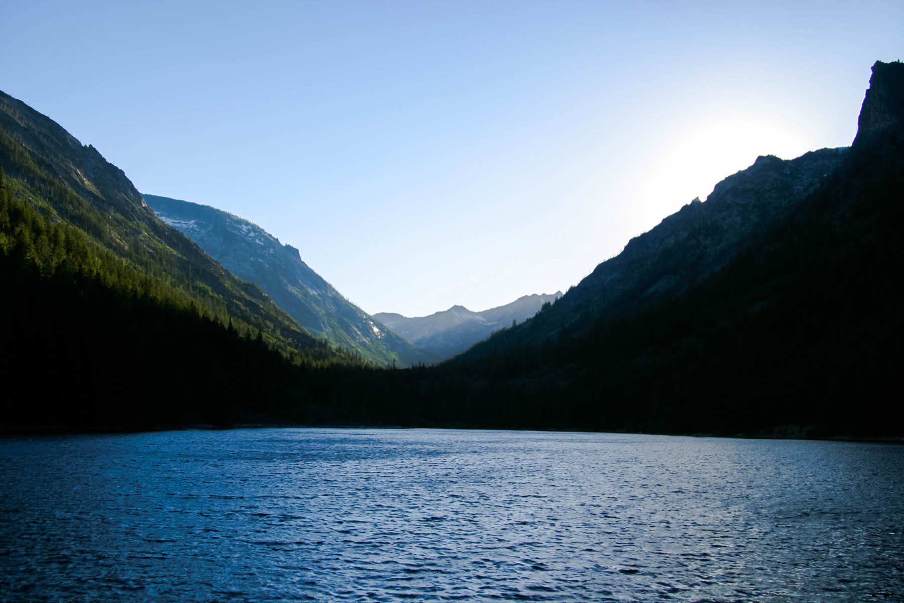 Lakes and distant mountains scenery 52244