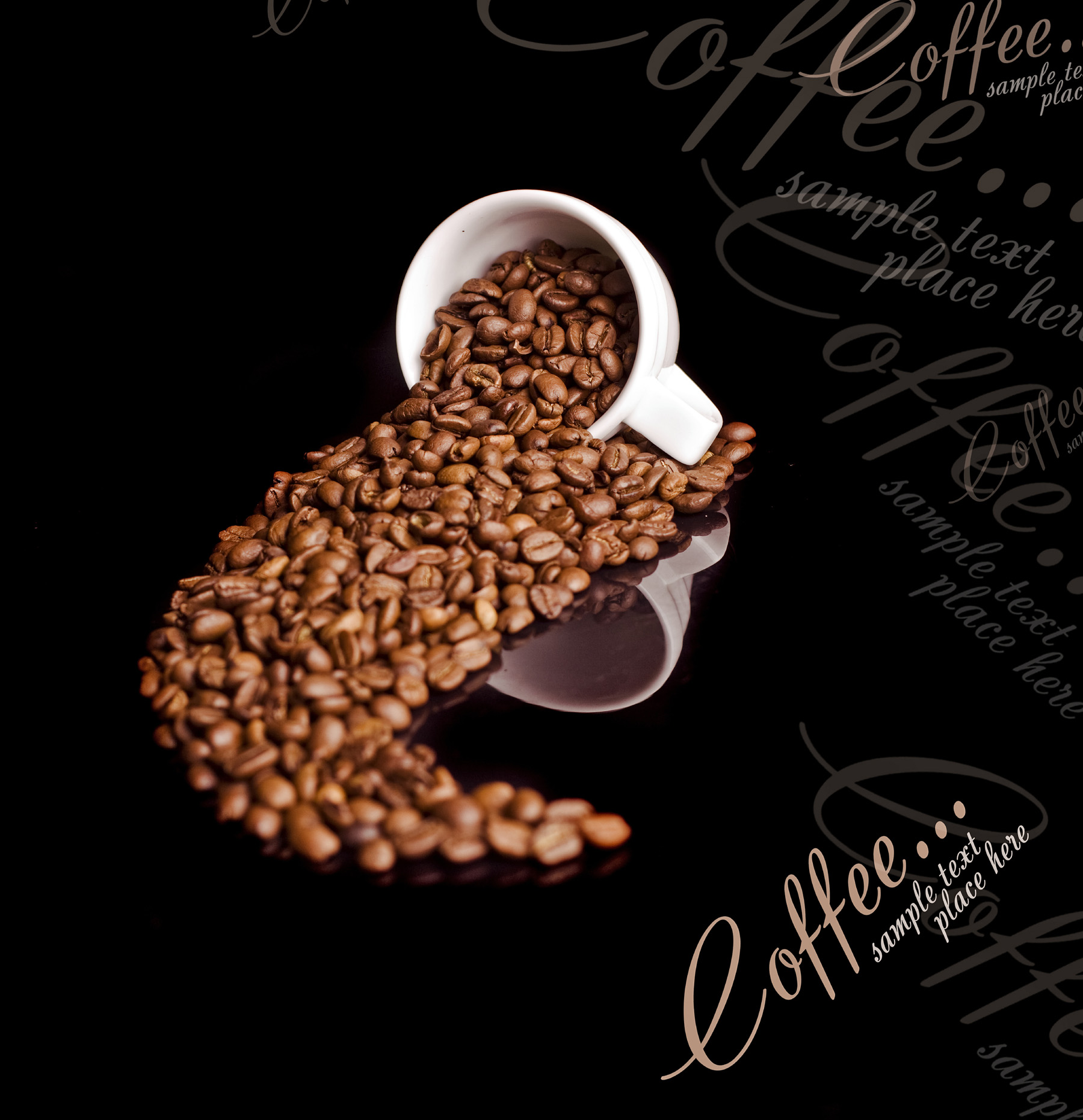 White Cup and pour out the coffee beans 52256