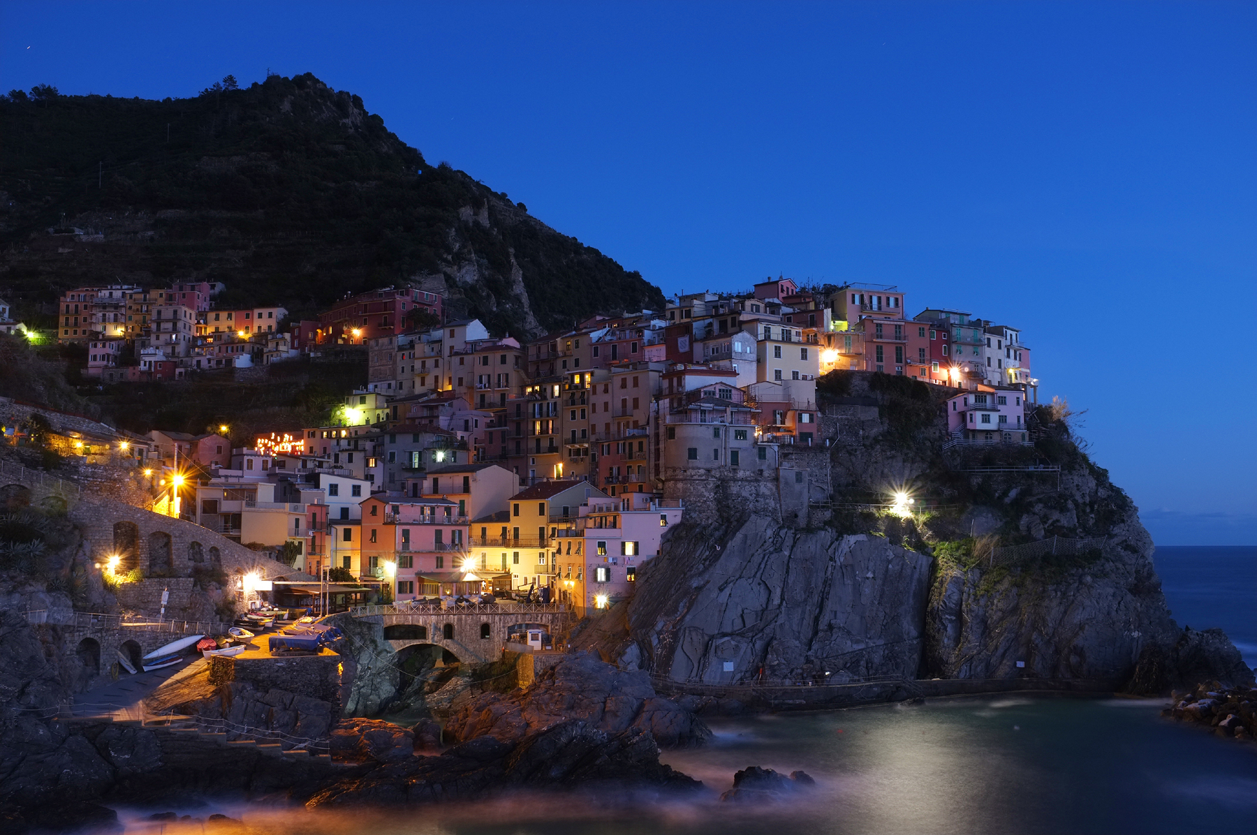 Hillside buildings at night 52276
