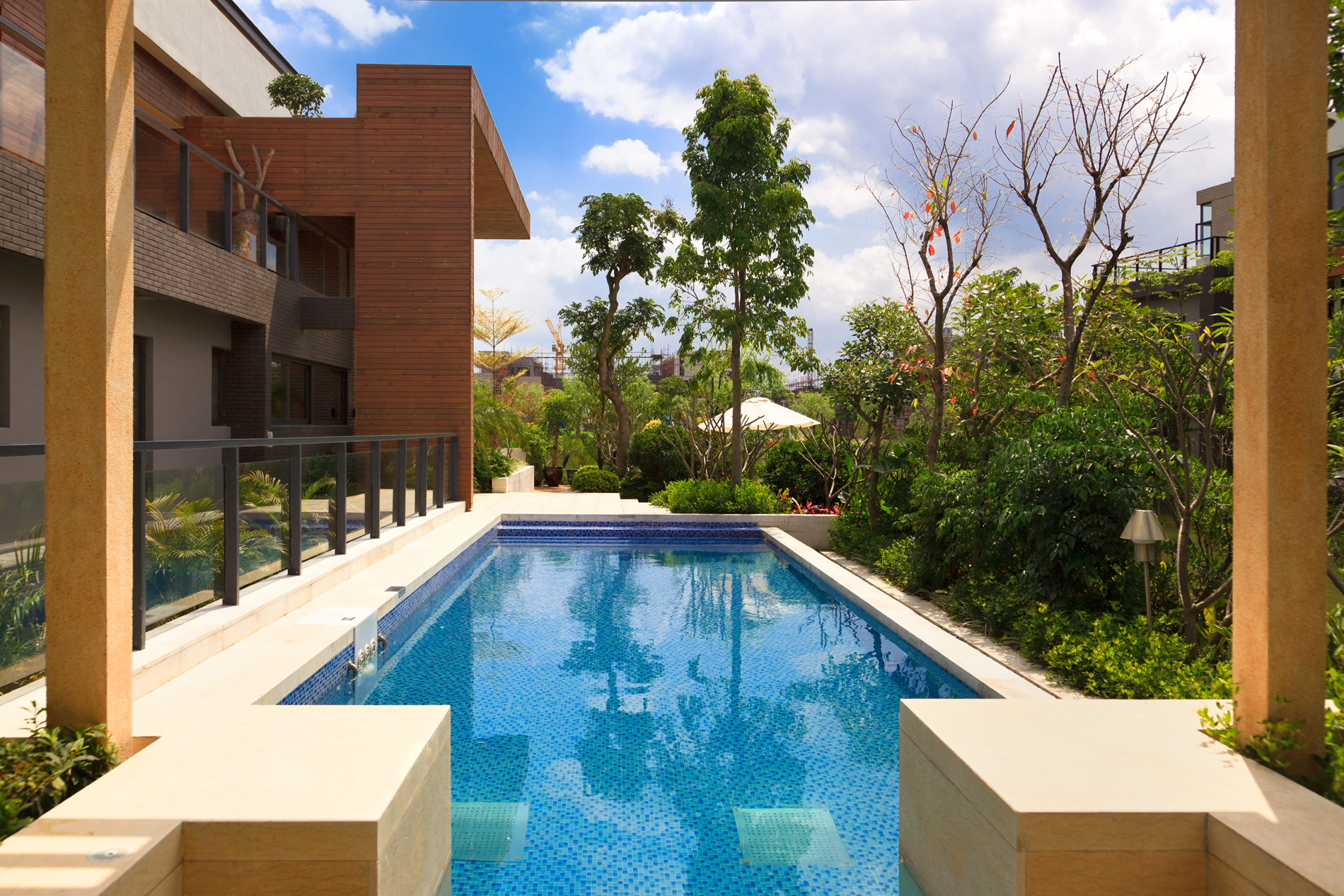 Community tree green with swimming pool 52311