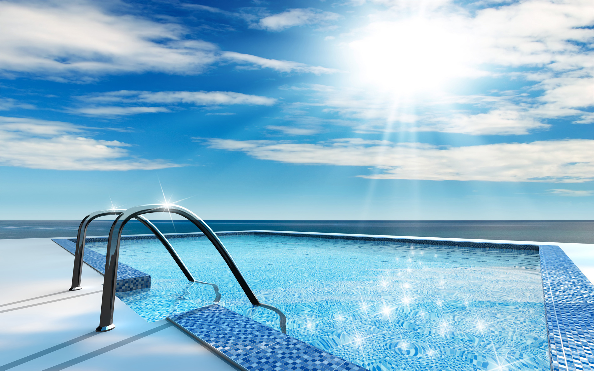 Open clouds and open air swimming pool 52334