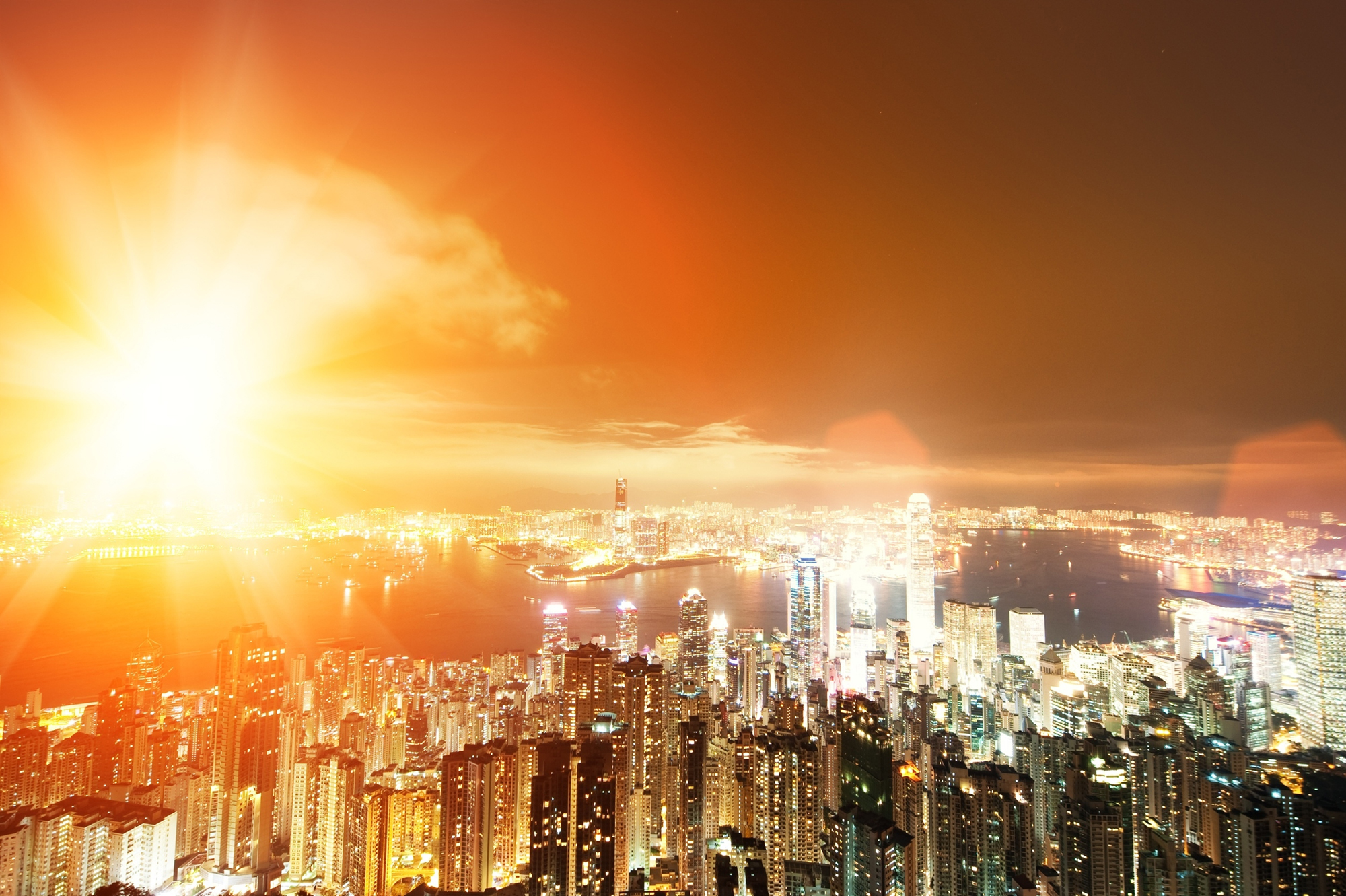 Bright light and the aerial view of the city scenery 52453