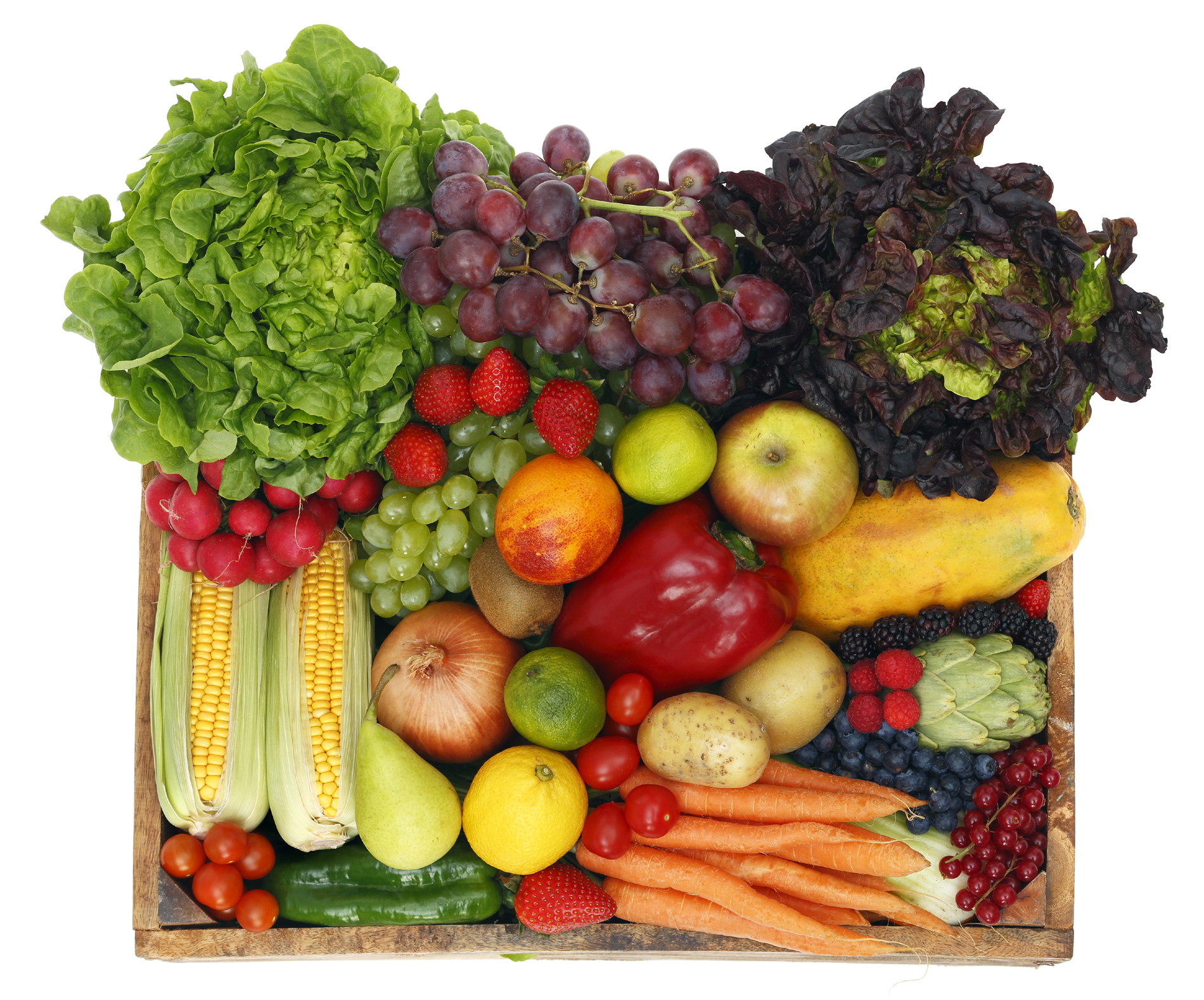 Corn onion and grape fruits and vegetables such as 52455