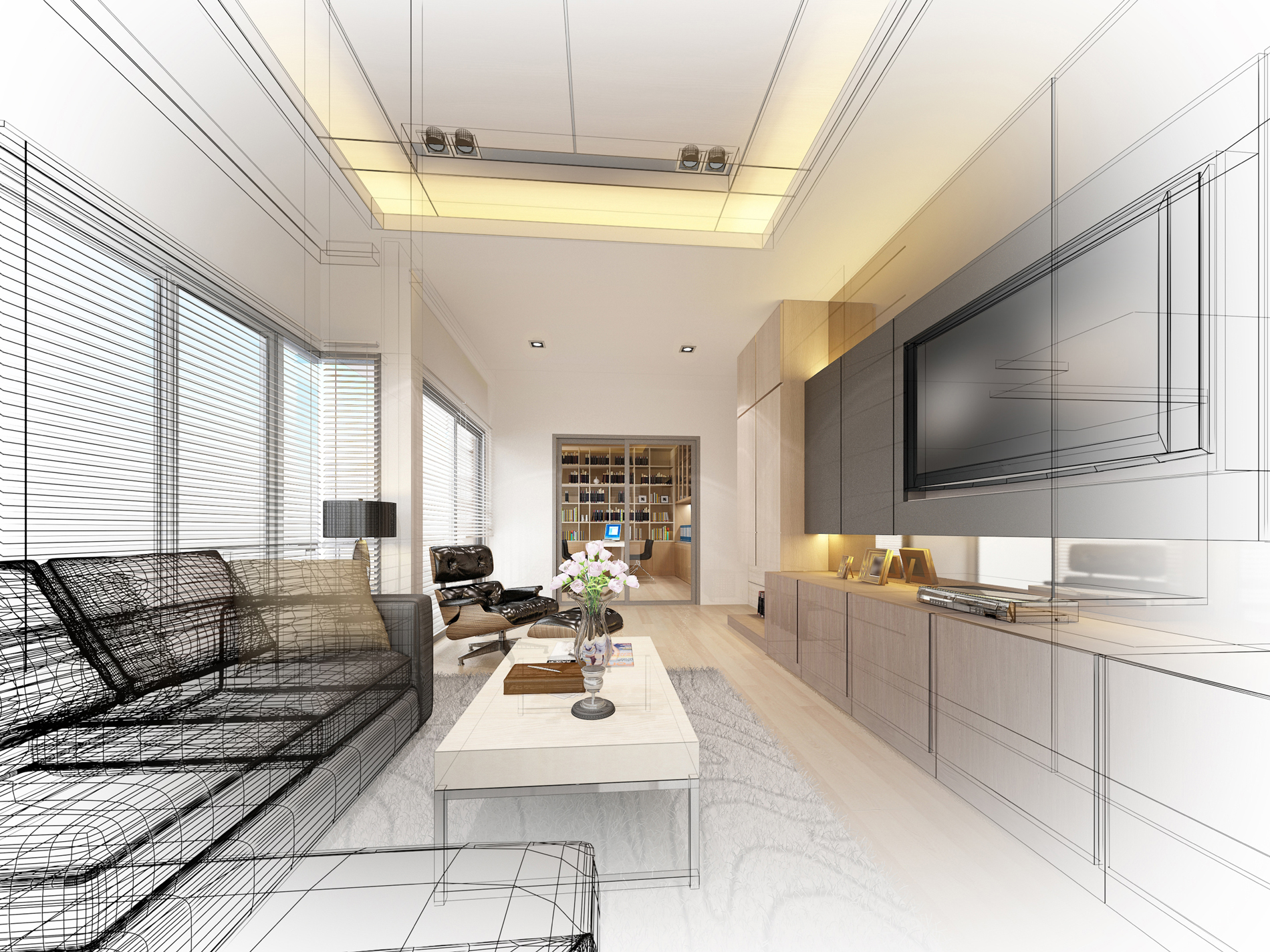 Living room sofa and TV contours 52516