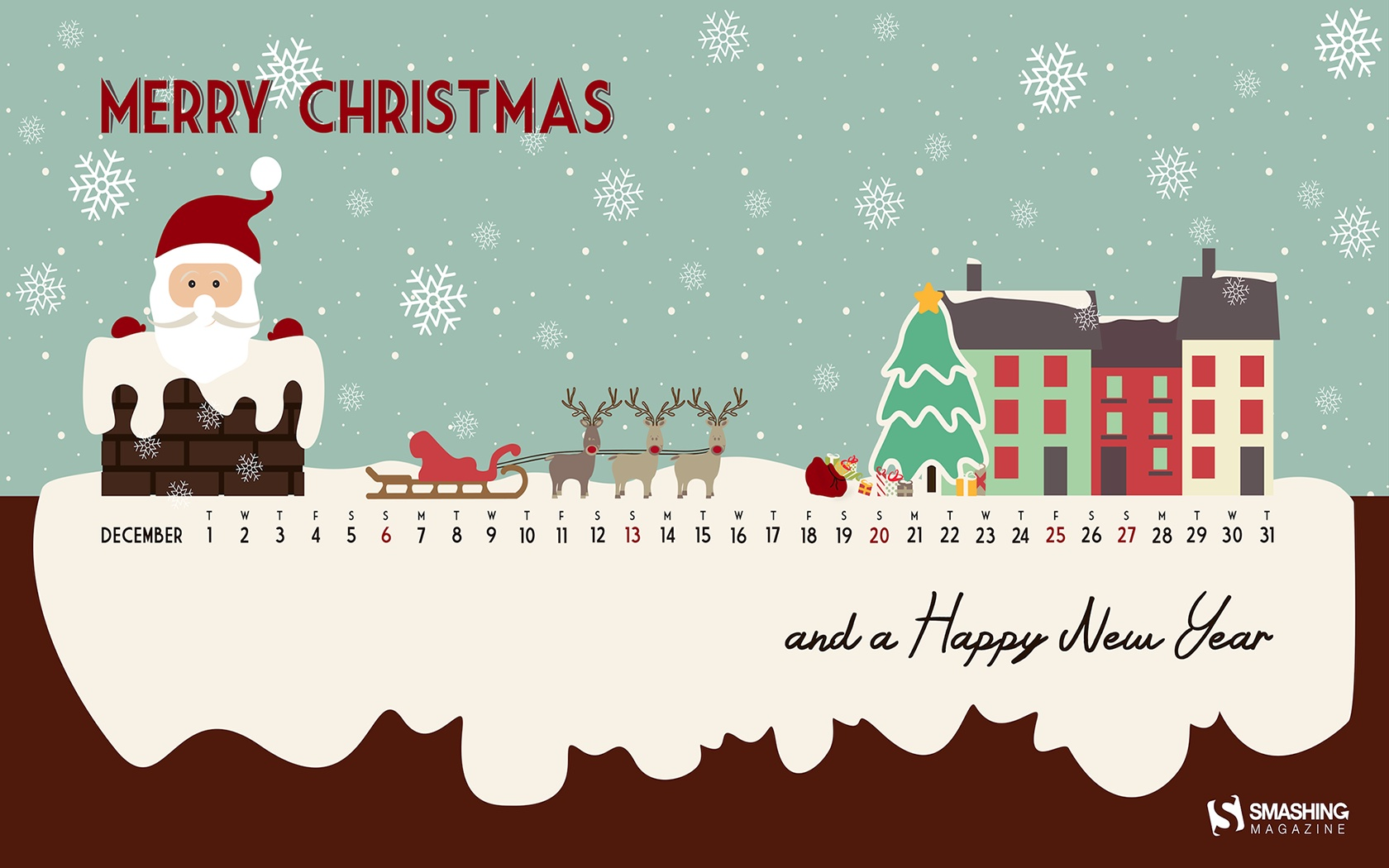 Month calendar Christmas desktop wallpaper 52521