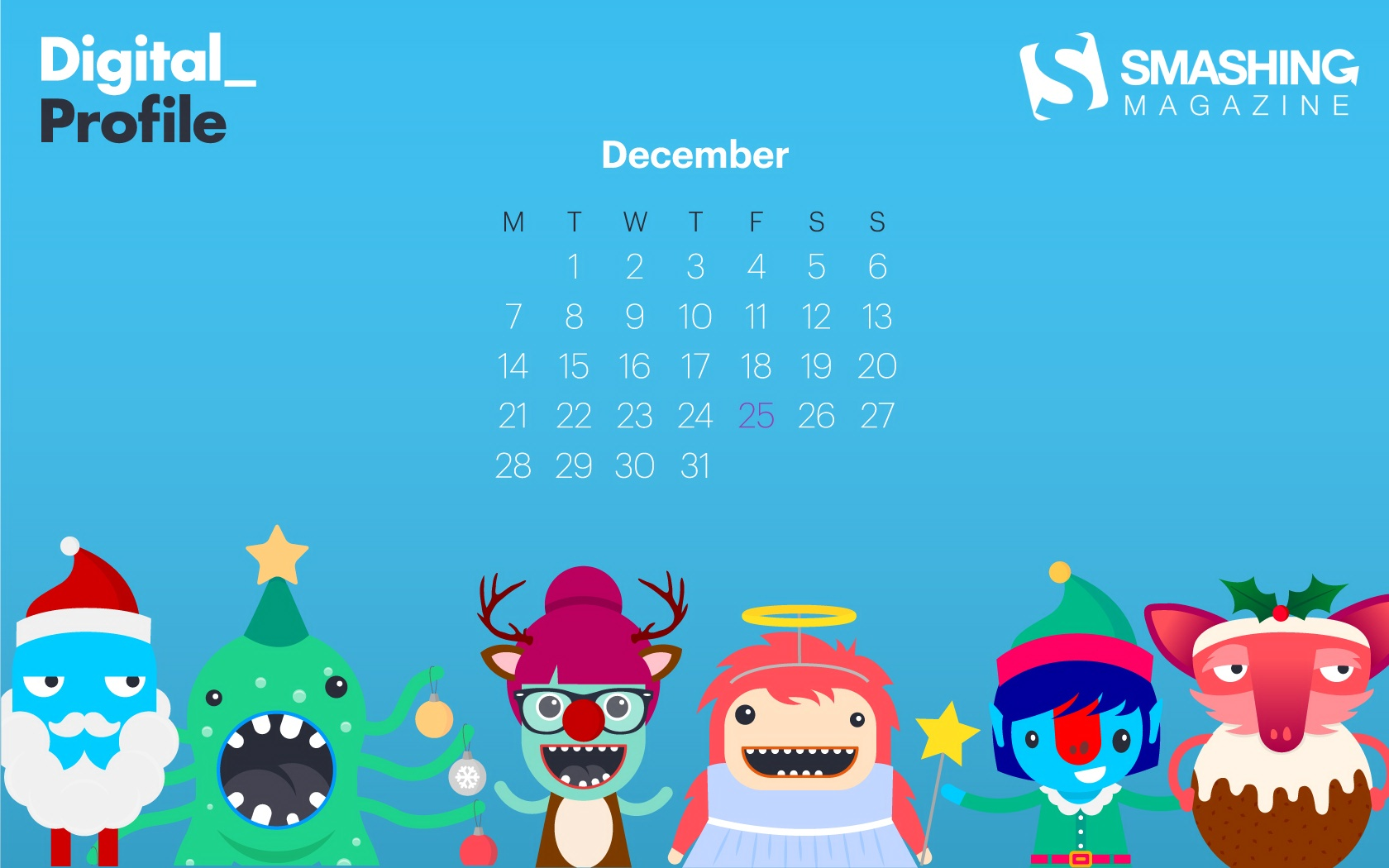 Month calendar Christmas desktop wallpaper 52524