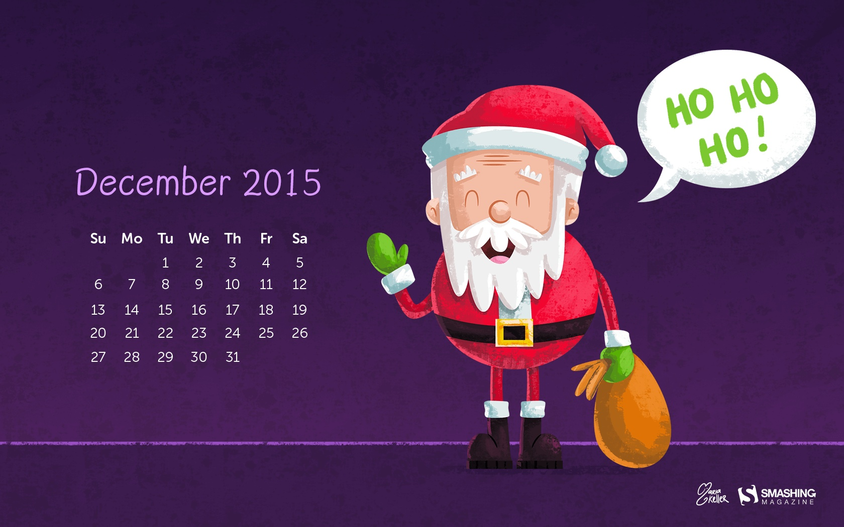 Month calendar Christmas desktop wallpaper 52527