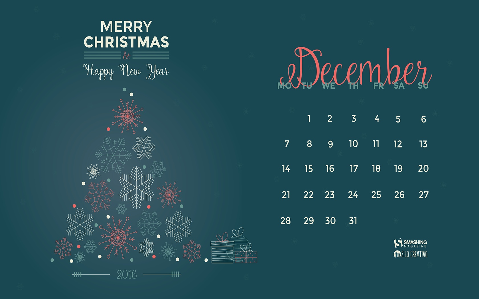 Month calendar Christmas desktop wallpaper 52529