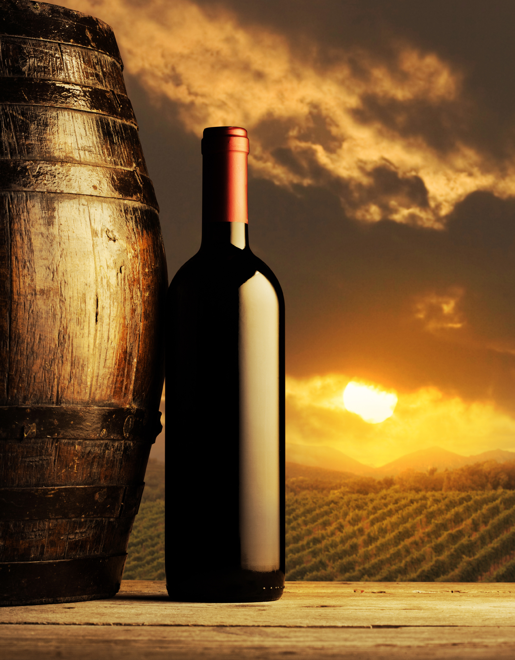 Clouds in sunshine and wine bottle 52558