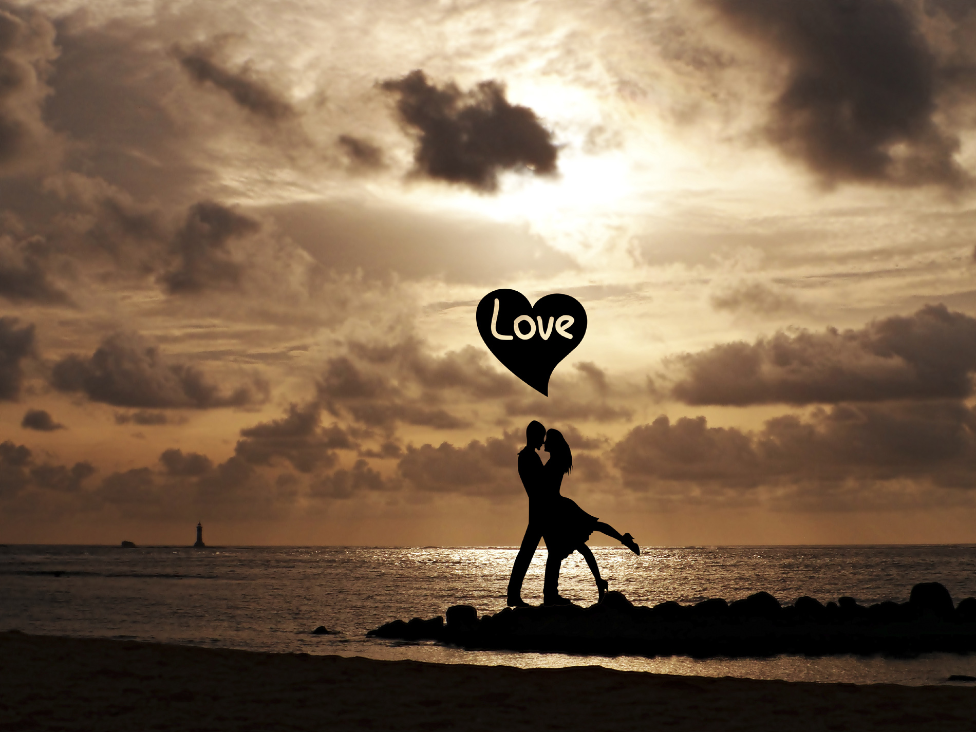 Couple on the beach in the evening dusk people silhouette 52569