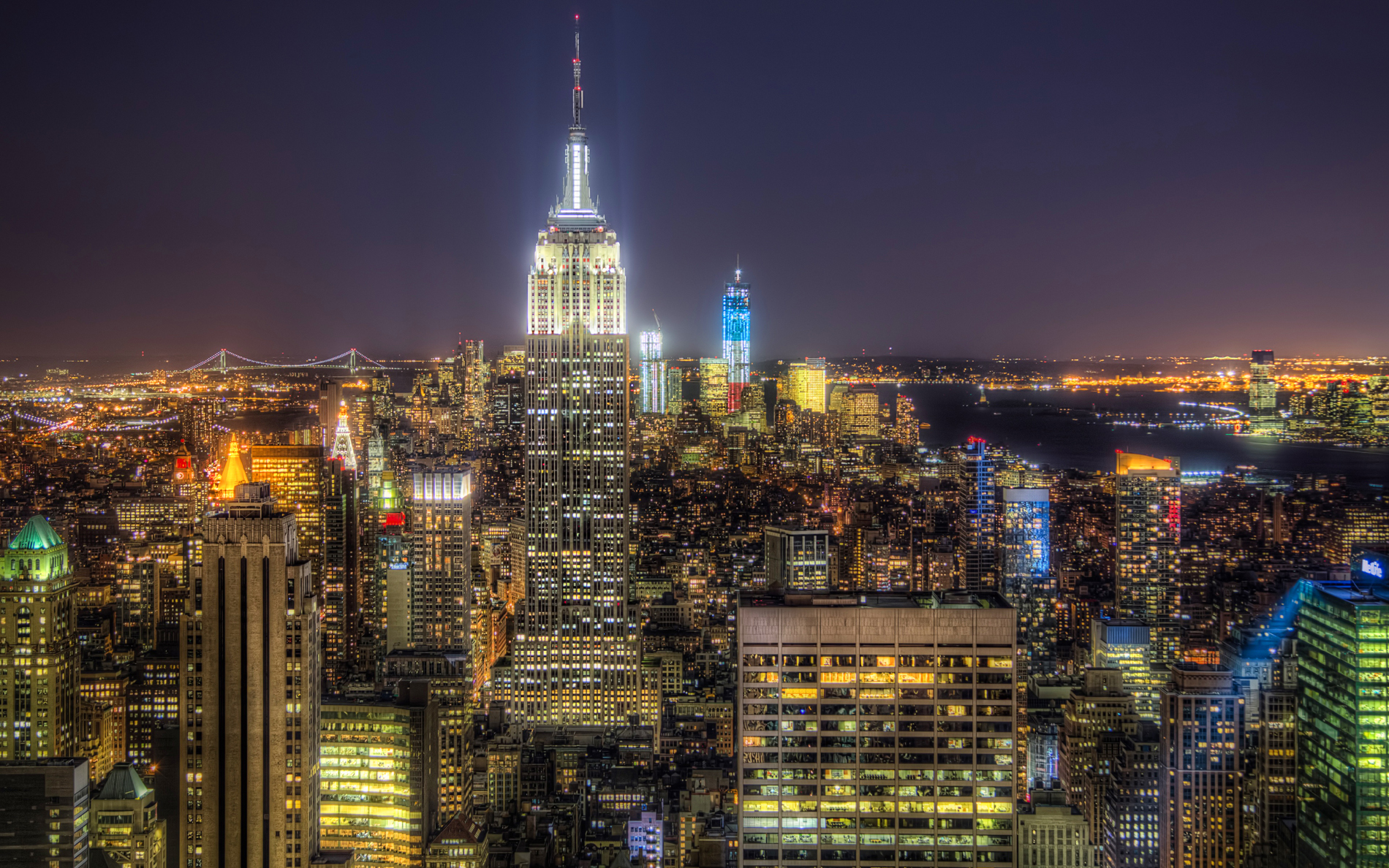 Manhattan at night the bright lights 52574
