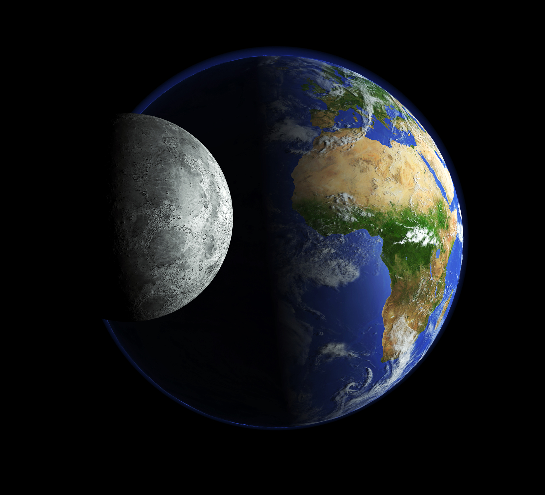 Grey and Blue Planet Moon 52661