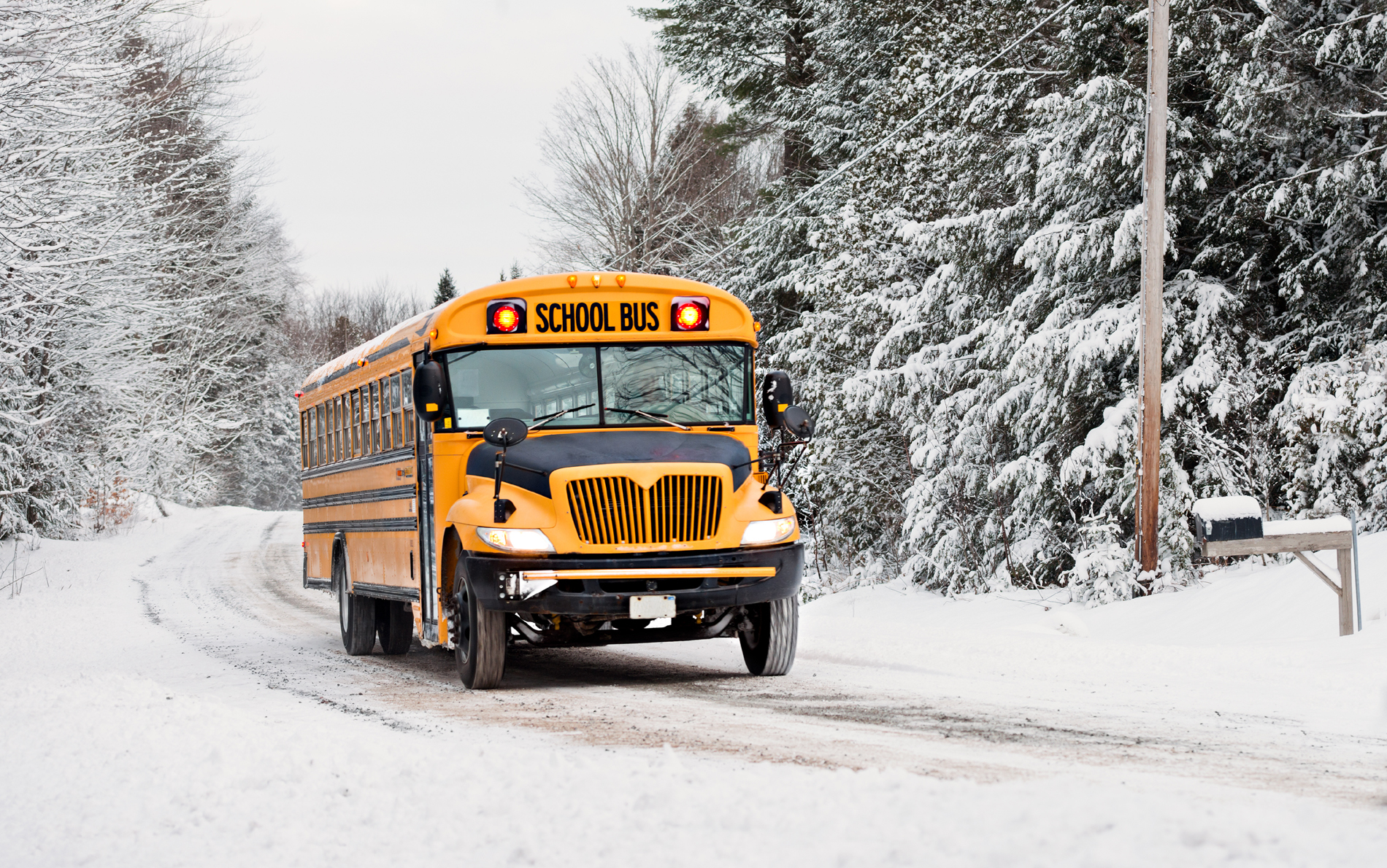 Winter driving on the road the school bus 52720
