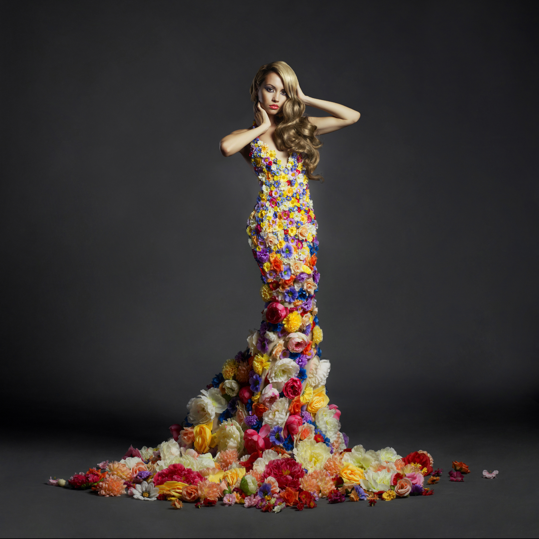 Dress decorated with flowers beauty 52723