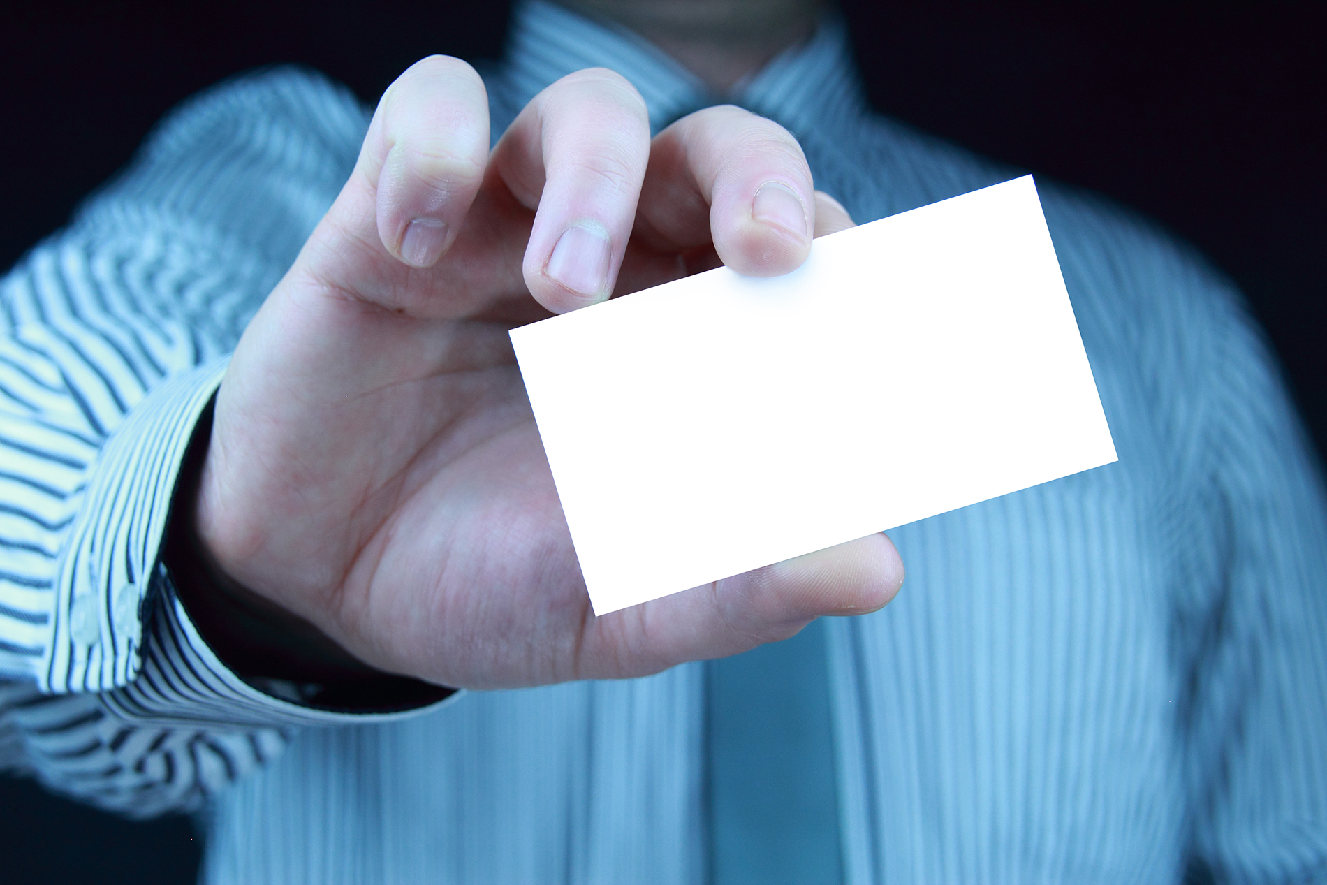 Workplace figure holding a blank card 53042
