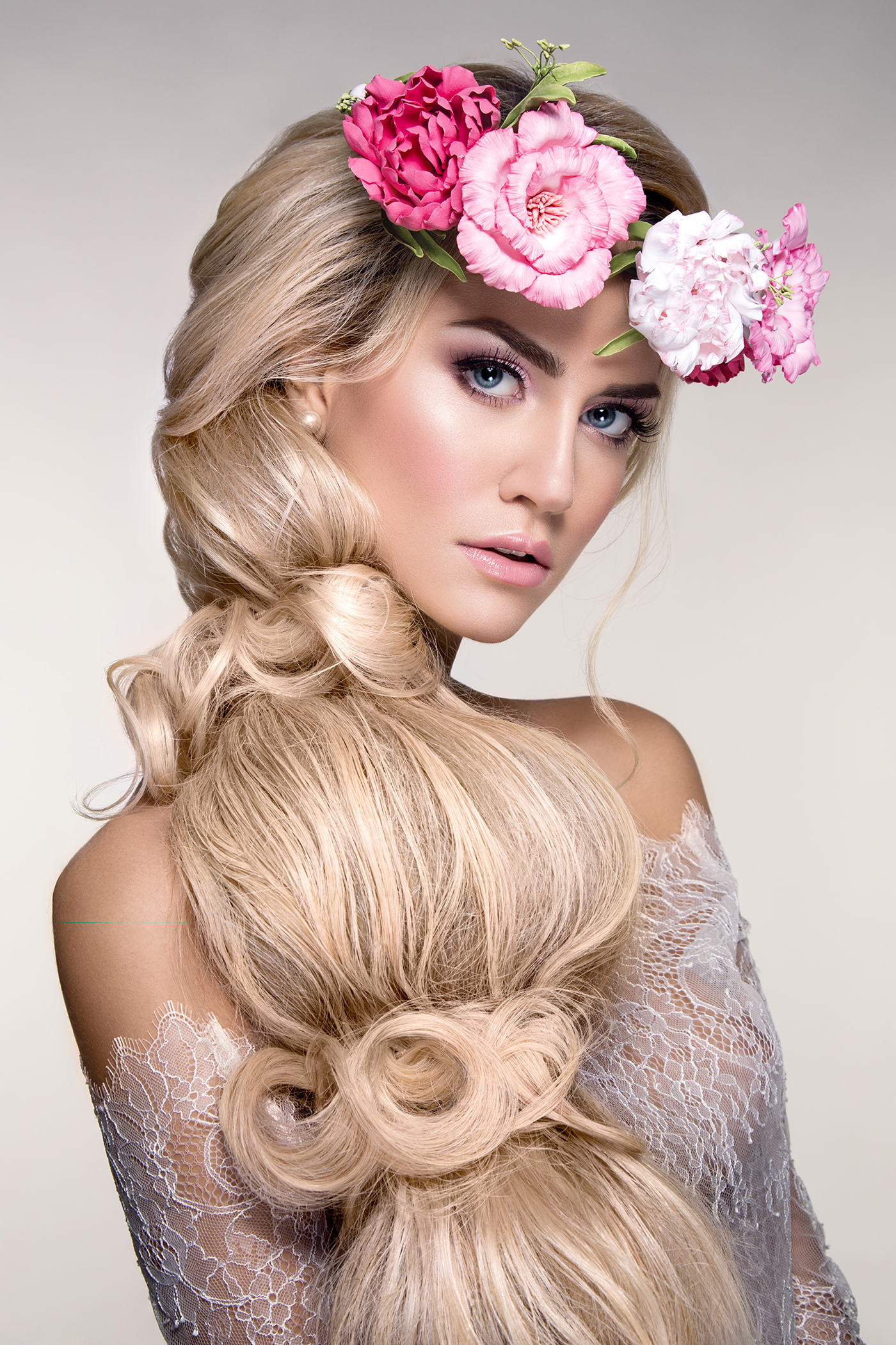 Tie up long hair floral beauties 53147