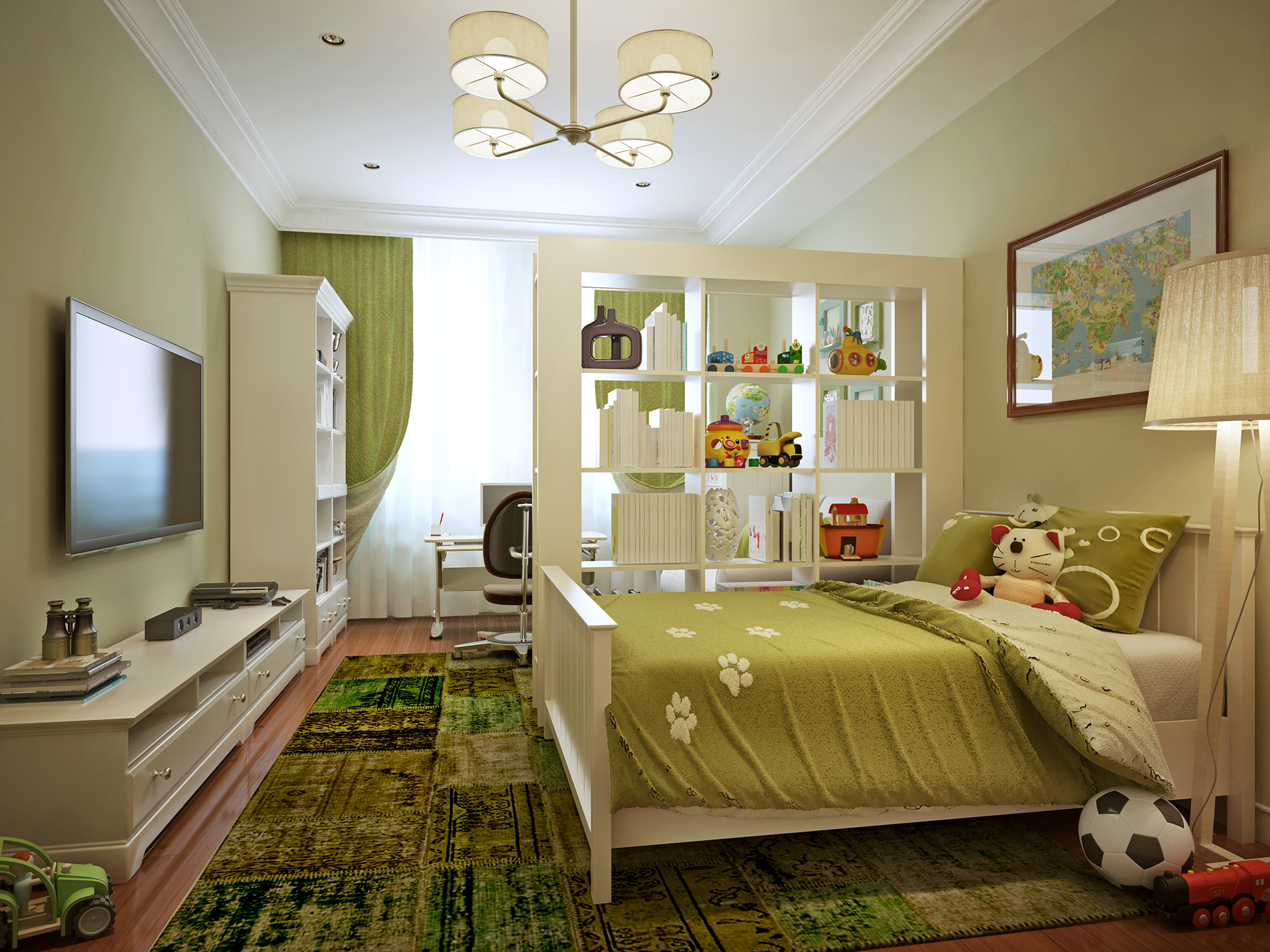 Bedroom TV and double bed 53189