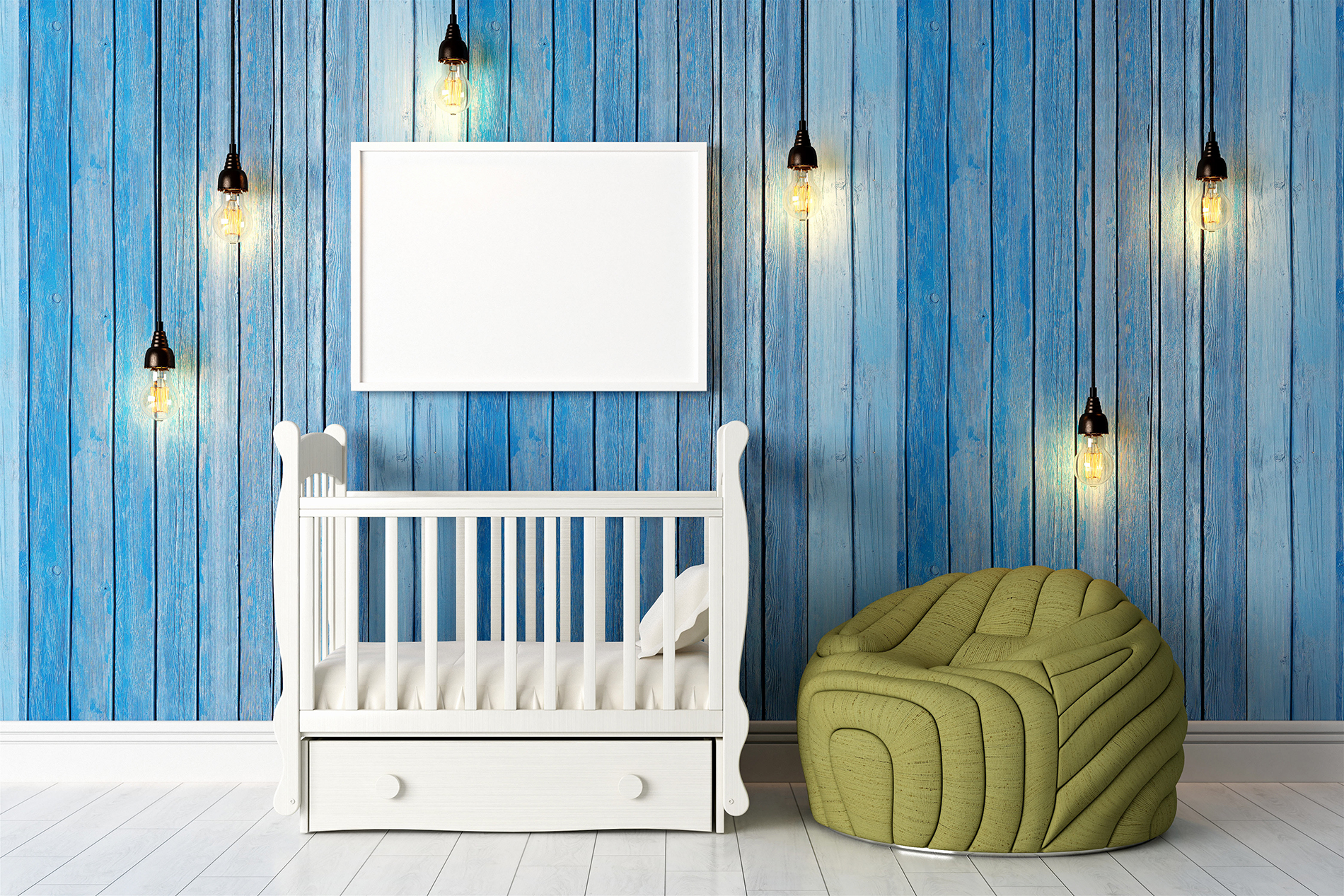 Crib and blue paneled walls 53421